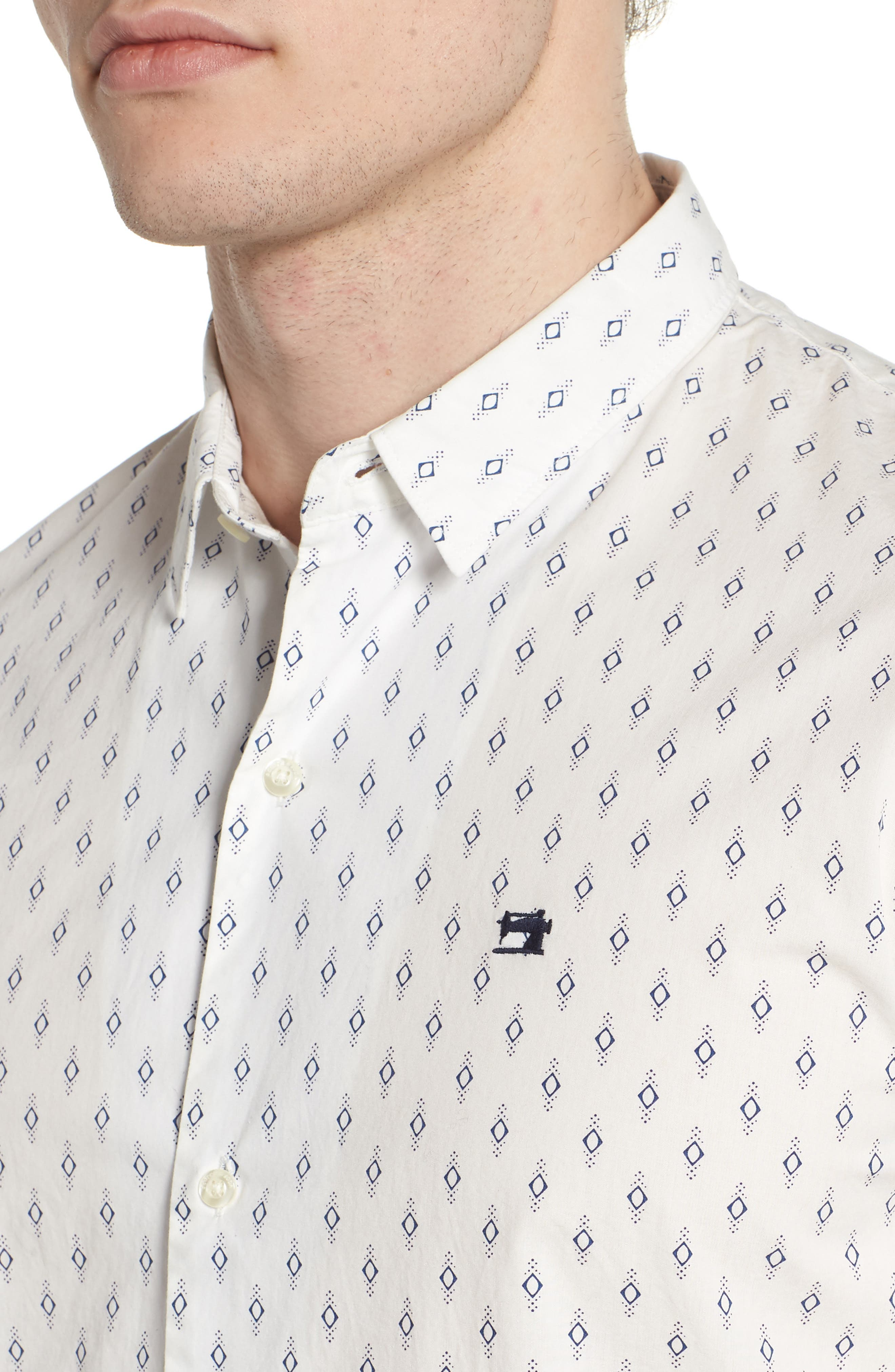 Classic Fit Print Woven Shirt,                             Alternate thumbnail 4, color,                             101