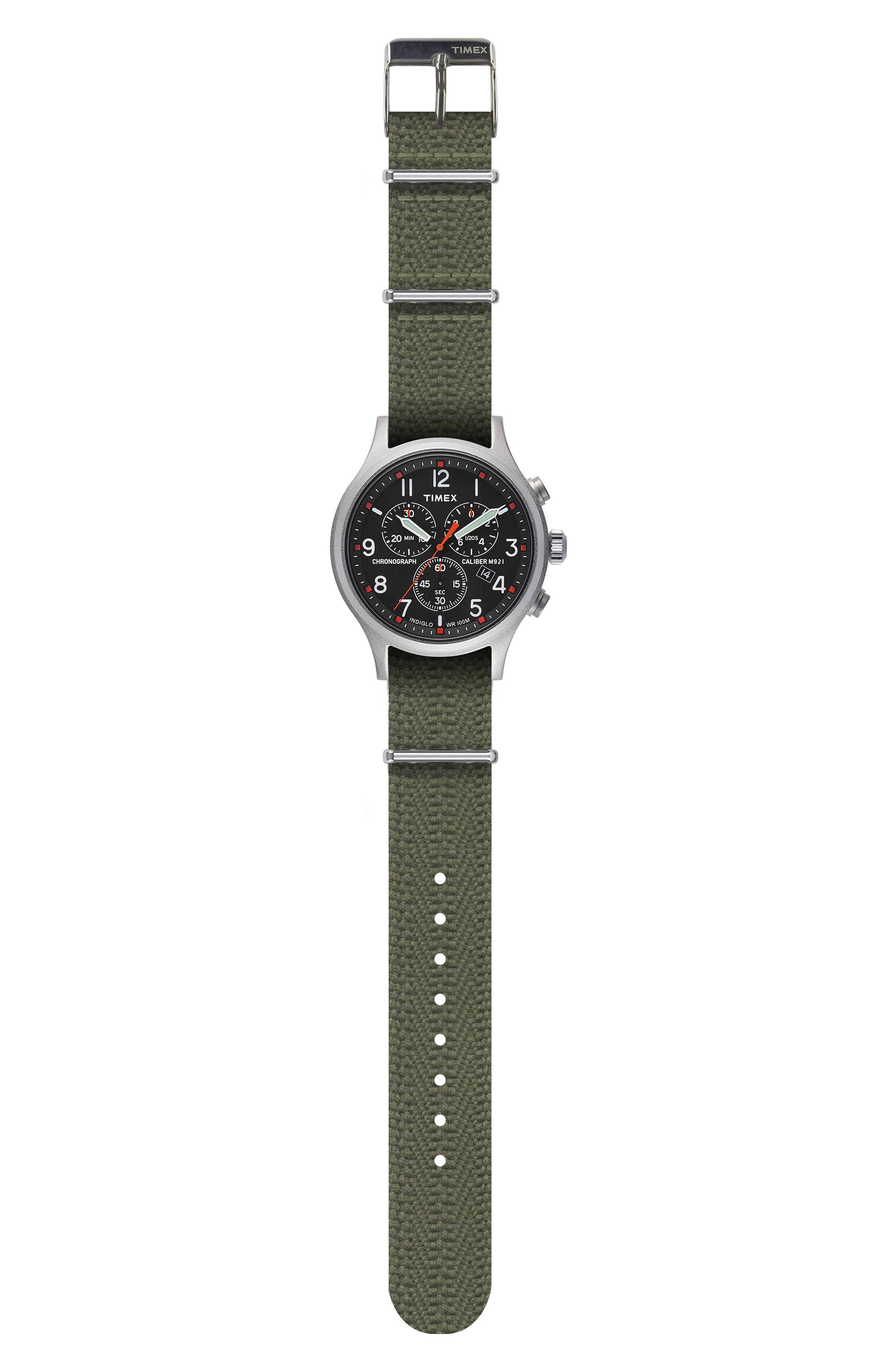 Allied Chronograph Woven Strap Watch, 42mm,                             Alternate thumbnail 2, color,                             SILVER/ BLACK/ GREEN