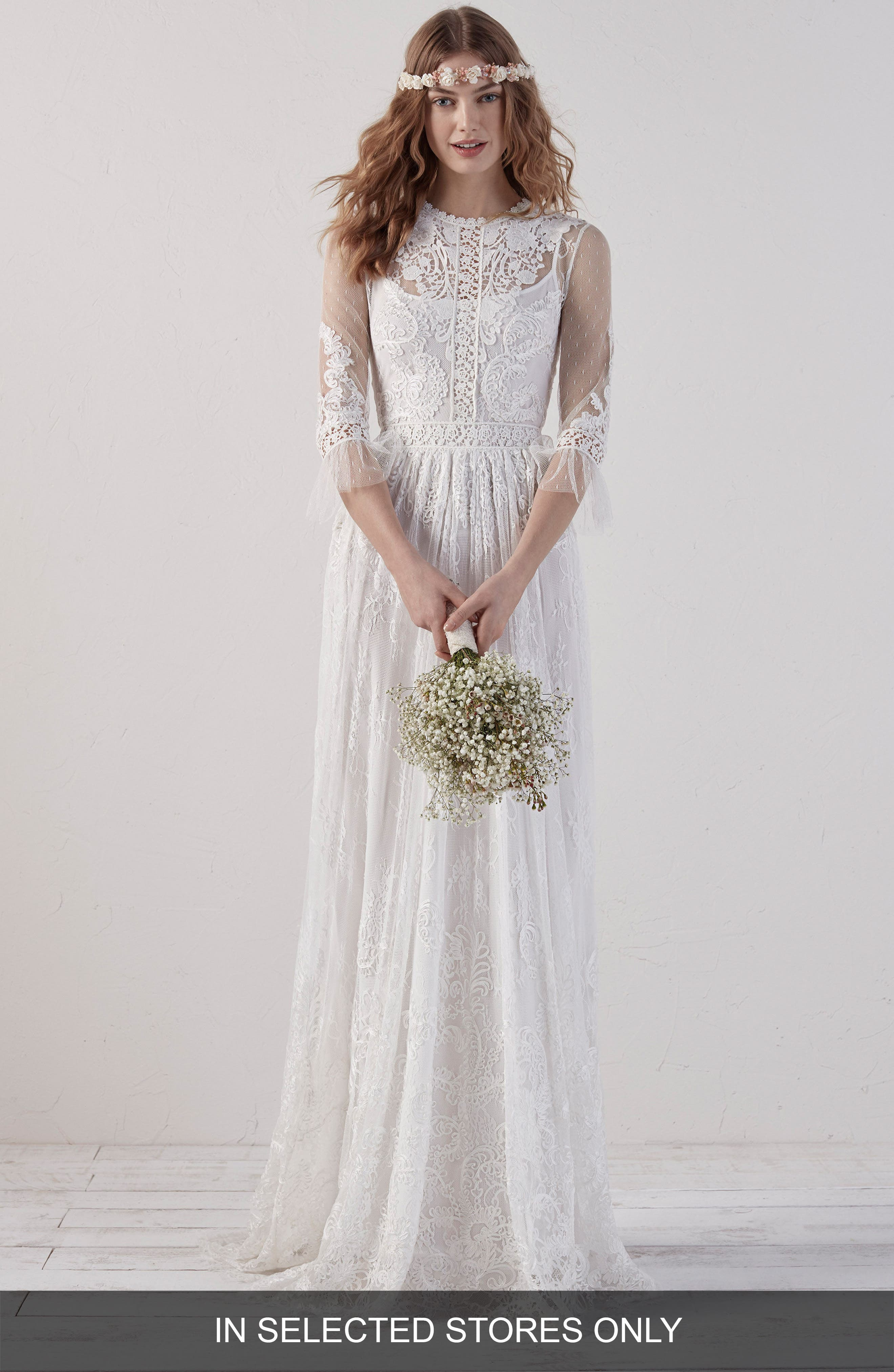 Edet Boho Lace Gown,                         Main,                         color, OFF WHITE