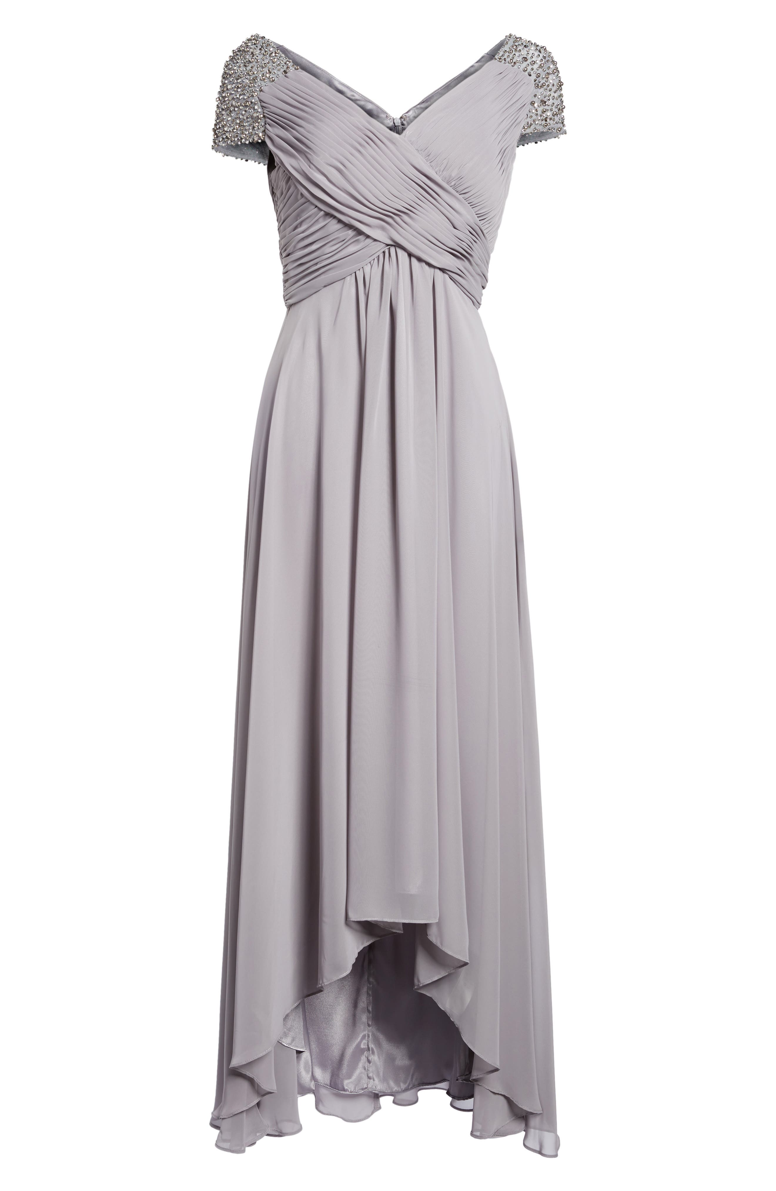 Embellished Pleated Chiffon Gown,                             Alternate thumbnail 6, color,                             030