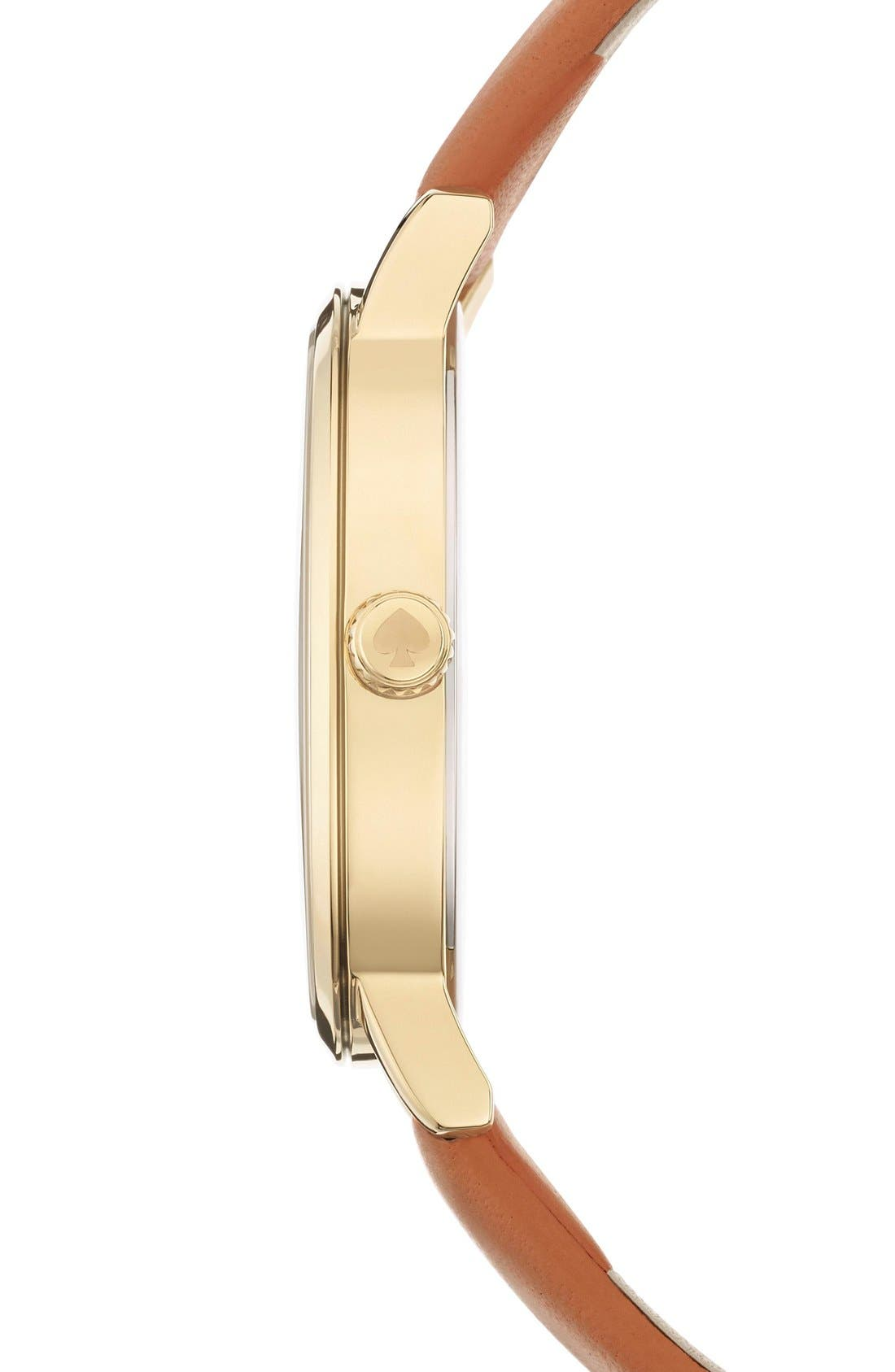 KATE SPADE NEW YORK,                             'metro' scalloped dial leather strap watch, 34mm,                             Alternate thumbnail 3, color,                             200