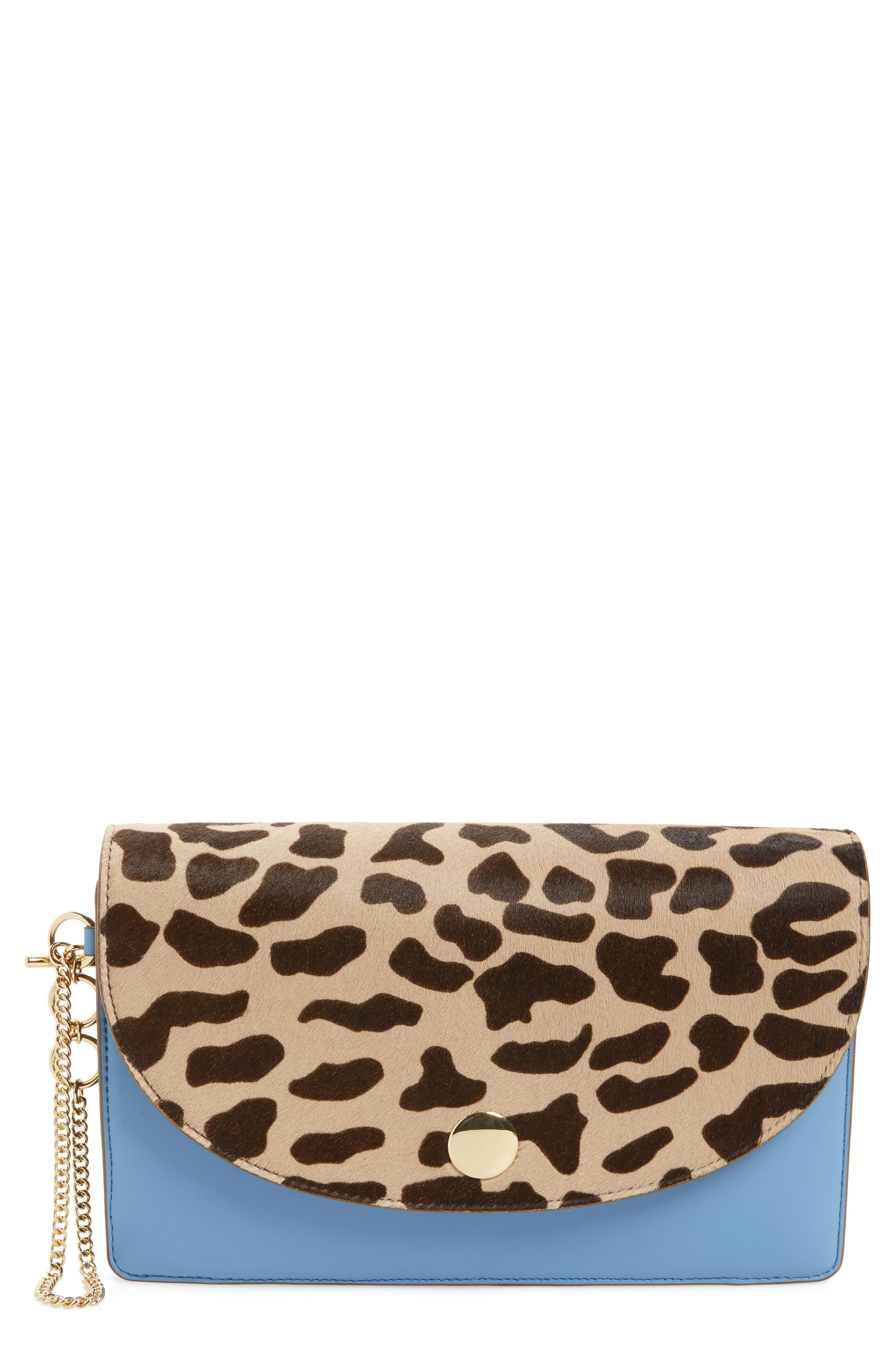 Convertible Leather & Genuine Calf Hair Saddle Clutch,                         Main,                         color, 200