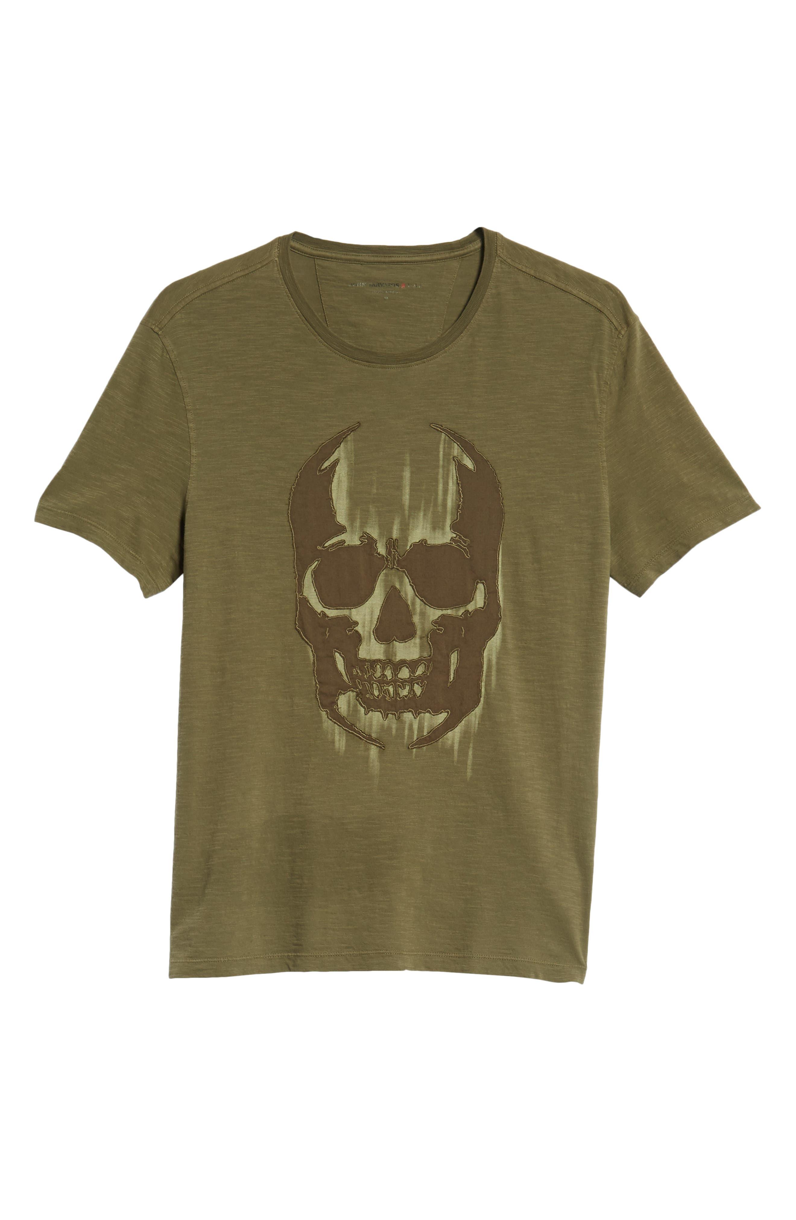 Faded Skull Appliqué T-Shirt,                             Alternate thumbnail 6, color,                             OLIVE