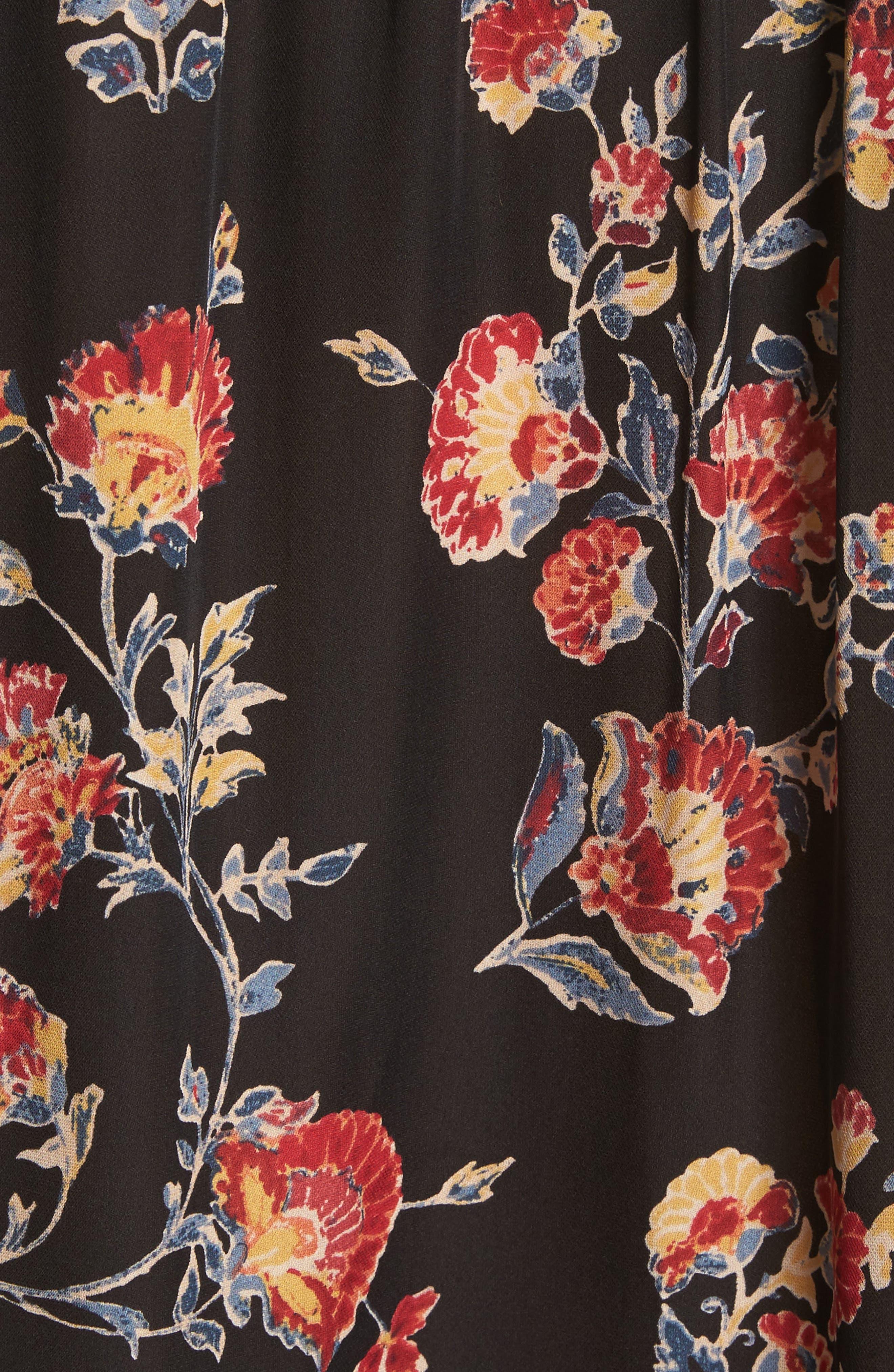 Brittin Floral Silk Top,                             Alternate thumbnail 5, color,                             007