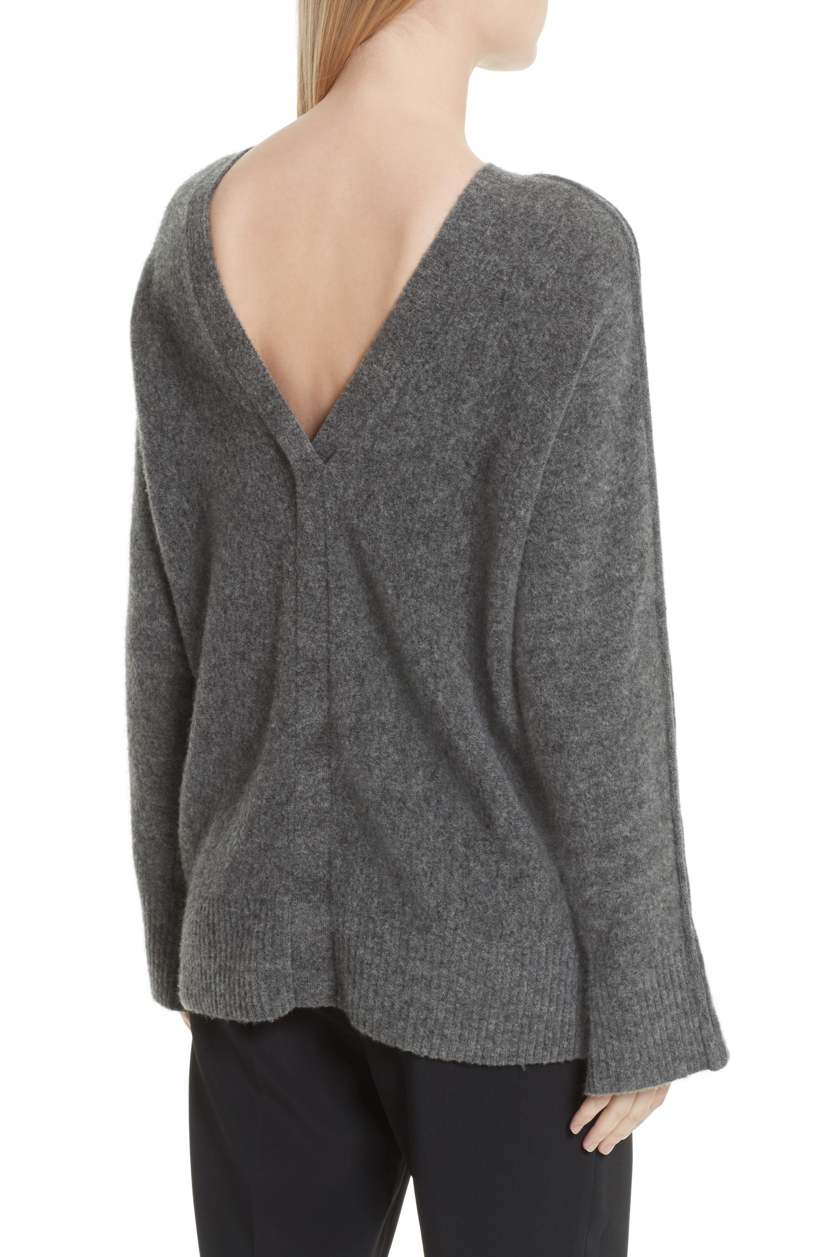 V-Back Sweater with Faux Pearl Cuffs,                             Alternate thumbnail 2, color,                             021
