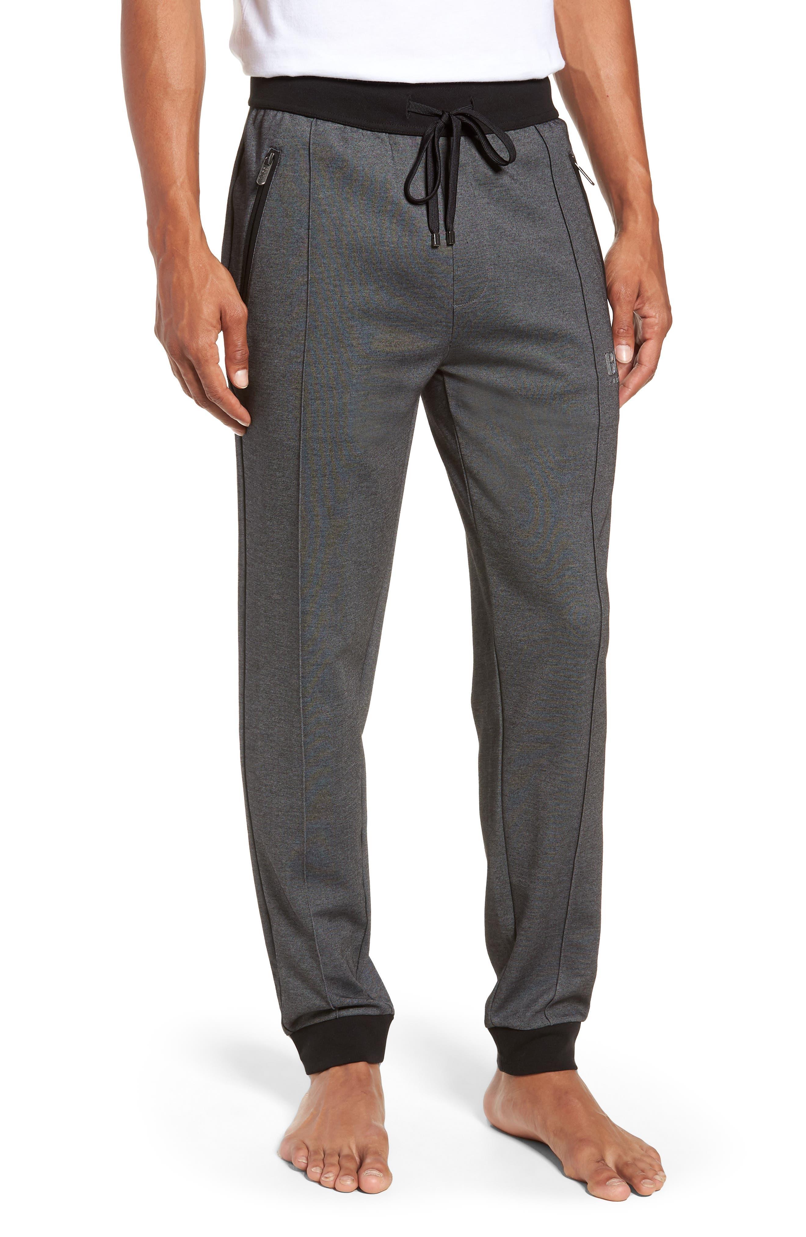 Cotton Blend Track Pants,                         Main,                         color, BLACK