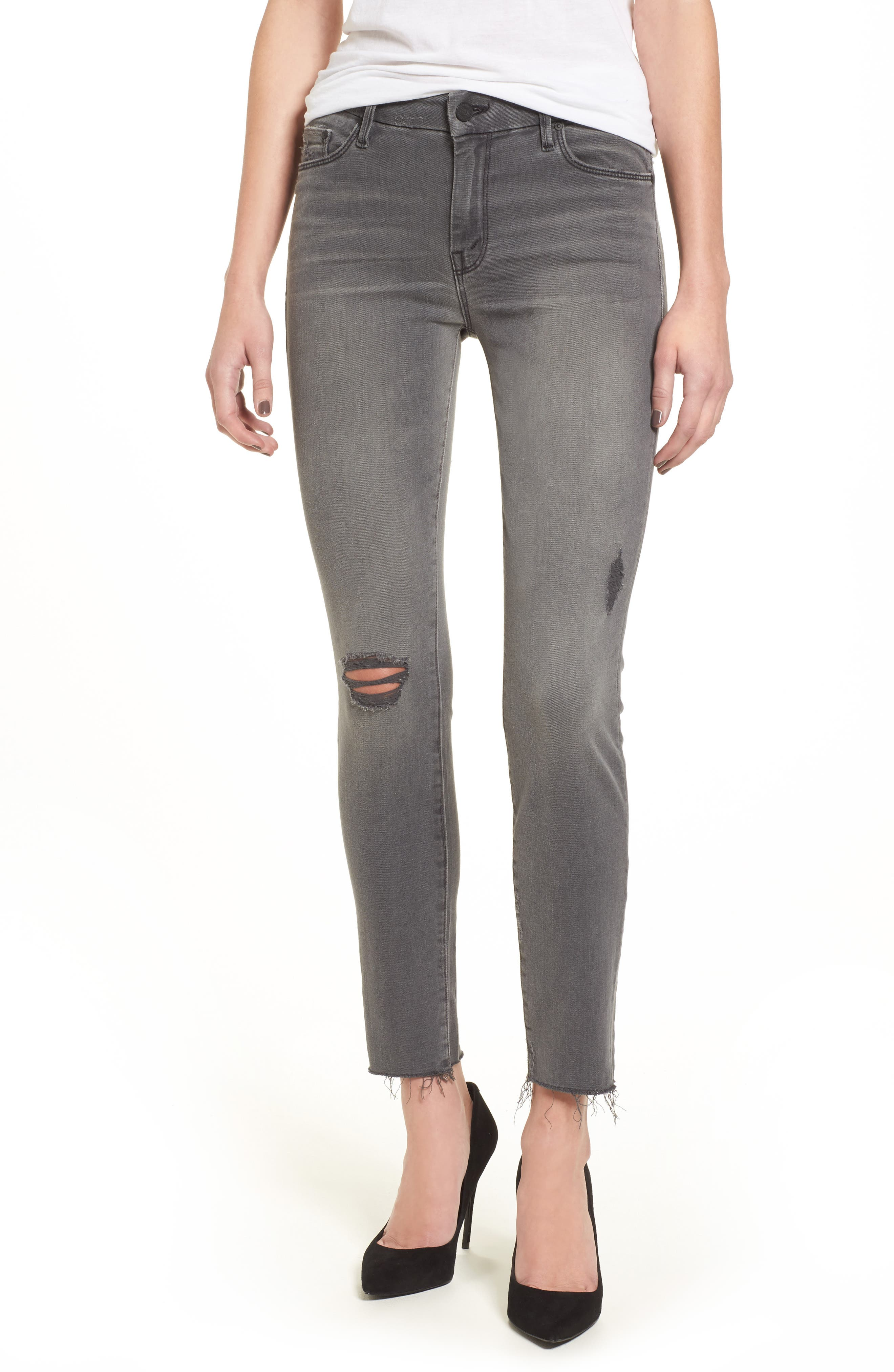 Frayed Ankle Jeans,                         Main,                         color, 020