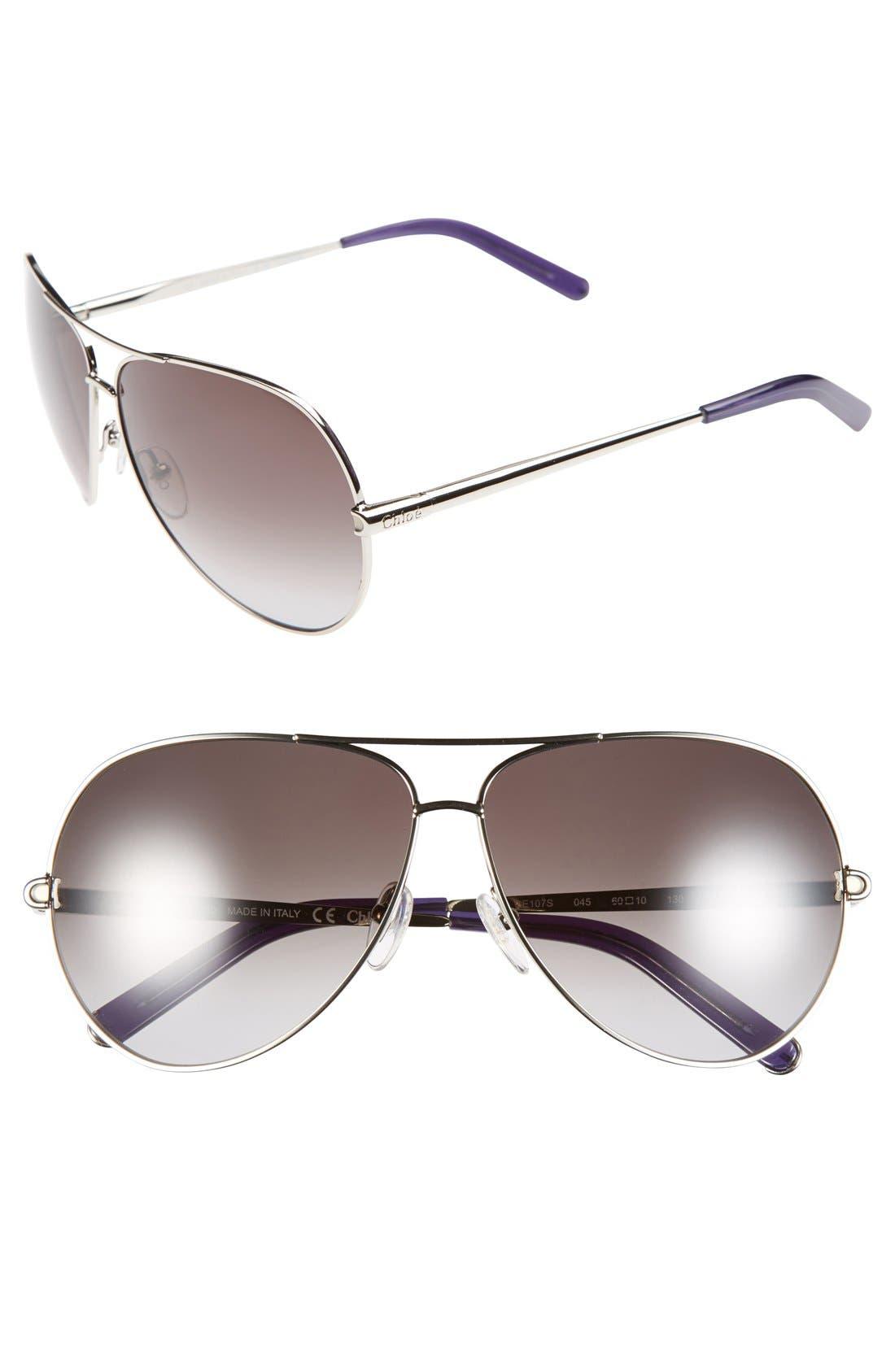 CHLOÉ 'Orme' 60mm Sunglasses, Main, color, 040