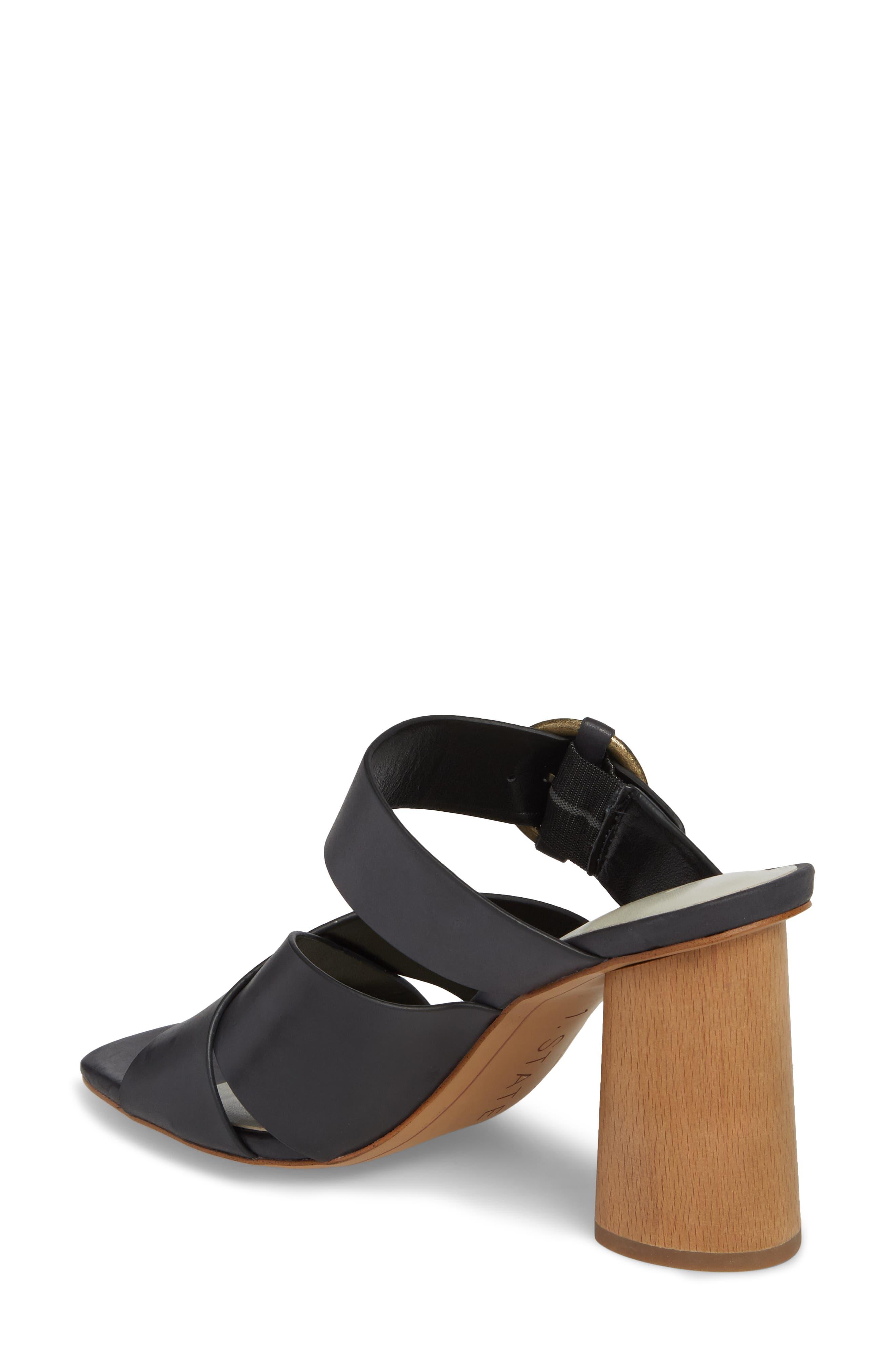 Icendra Flared Heel Mule Sandal,                             Alternate thumbnail 2, color,                             BLACK LEATHER