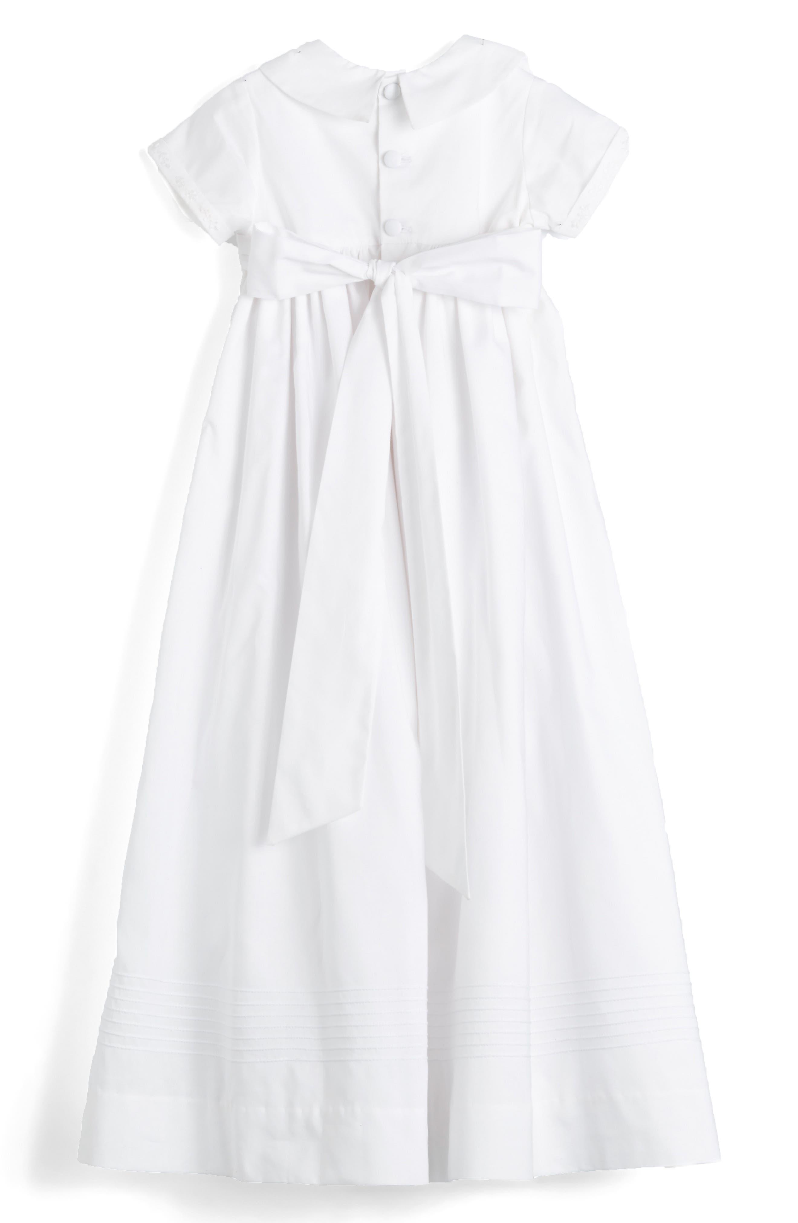 'Classic' Christening Gown & Bonnet,                             Alternate thumbnail 2, color,                             WHITE