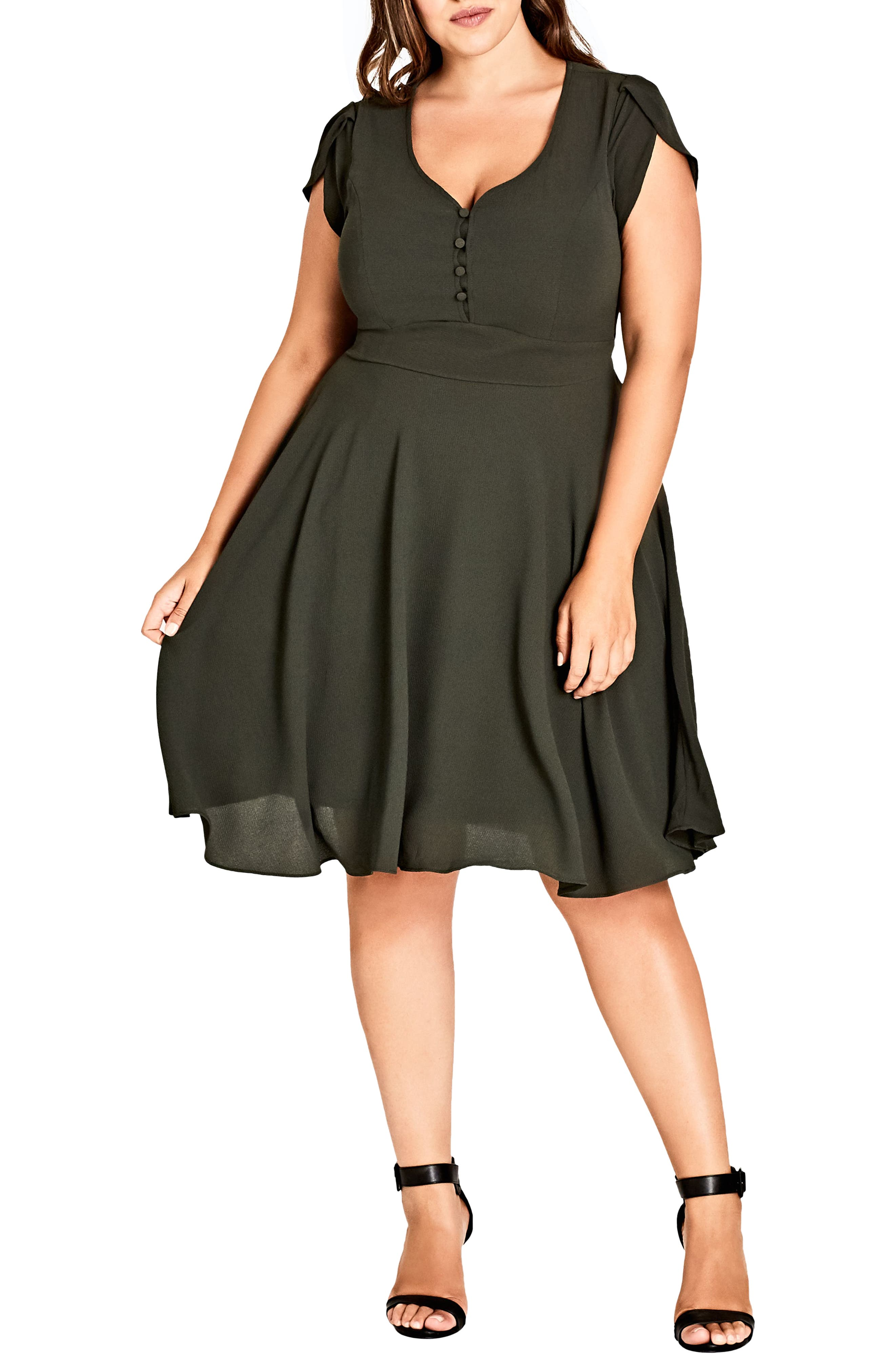 Plus Size City Chic Button Fit & Flare Dress, Green
