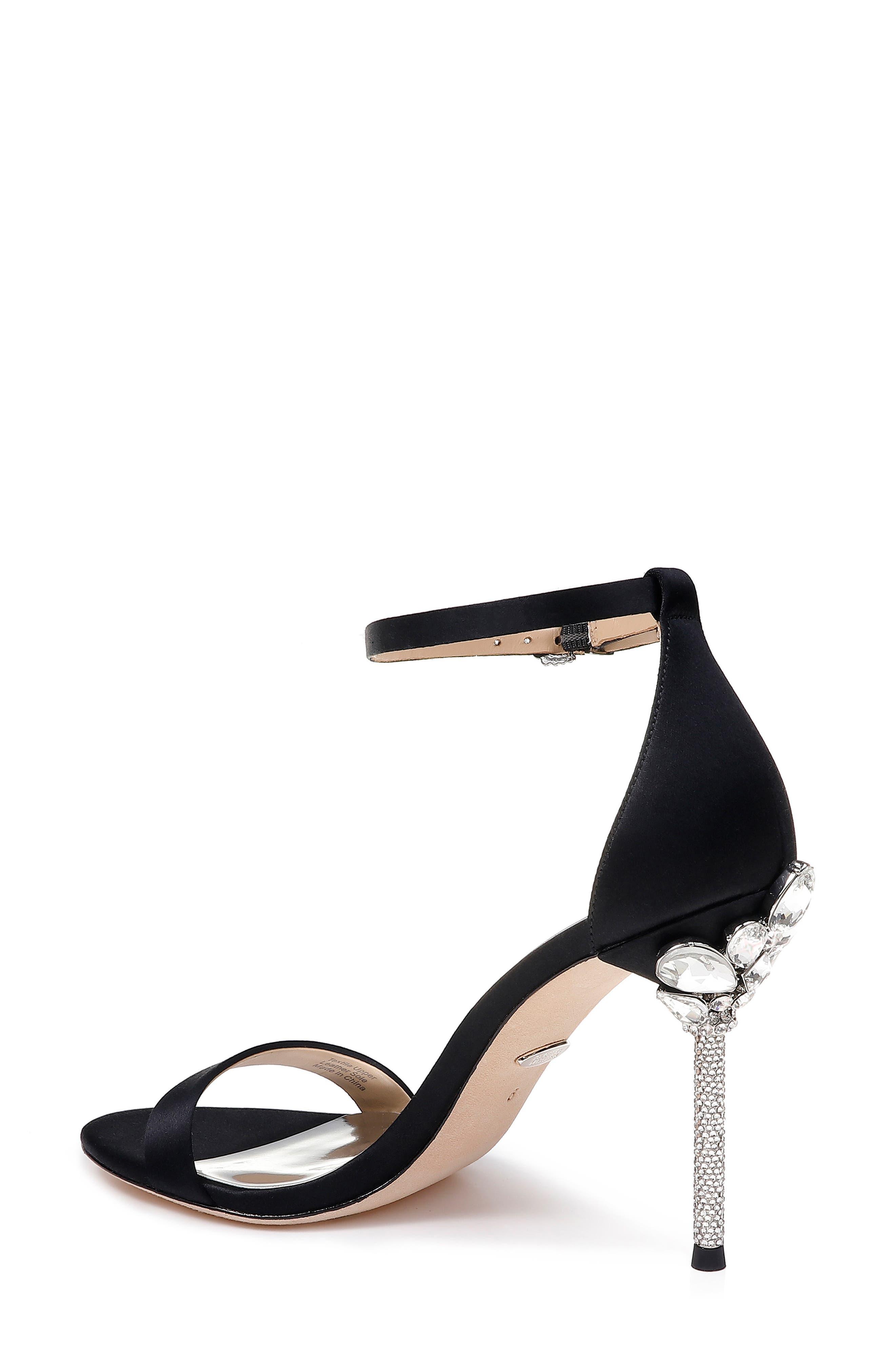 Vicia Crystal Embellished Heel Sandal,                             Alternate thumbnail 2, color,                             BLACK SATIN