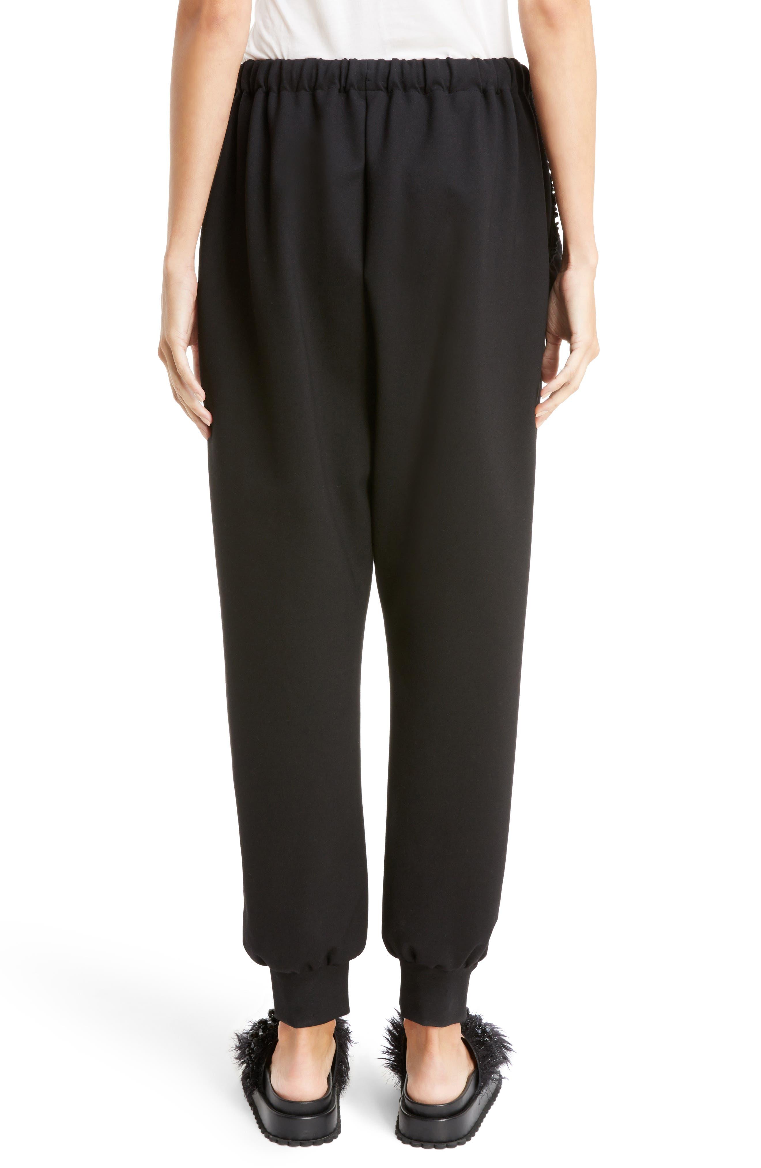 Ruffle Embellished Jogging Pants,                             Alternate thumbnail 2, color,                             BLACK