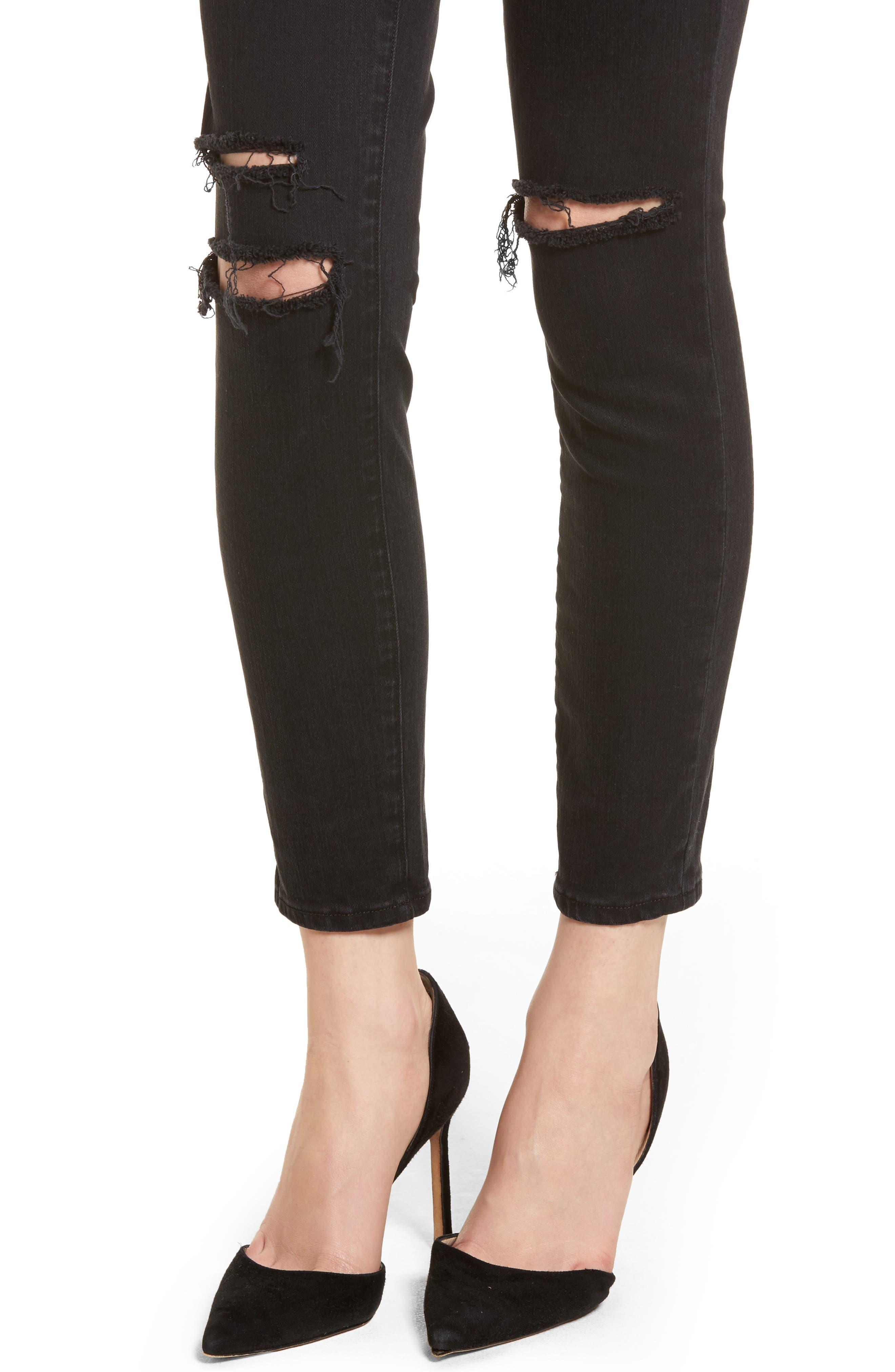 Alana High Waist Ankle Skinny Jeans,                             Alternate thumbnail 4, color,                             BLACK MERCY