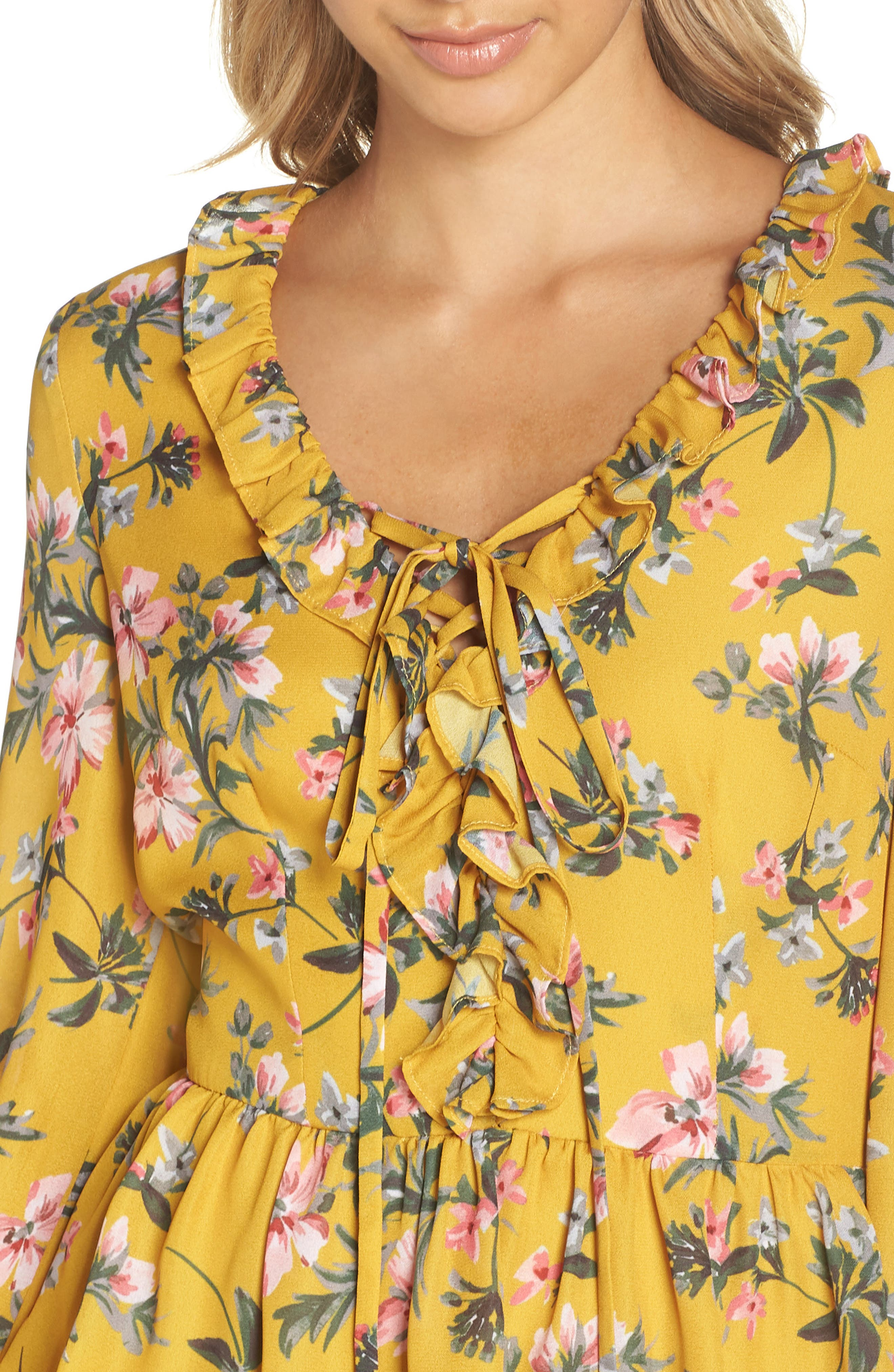 Floral Ruffle Dress,                             Alternate thumbnail 4, color,                             MARIGOLD MULTI