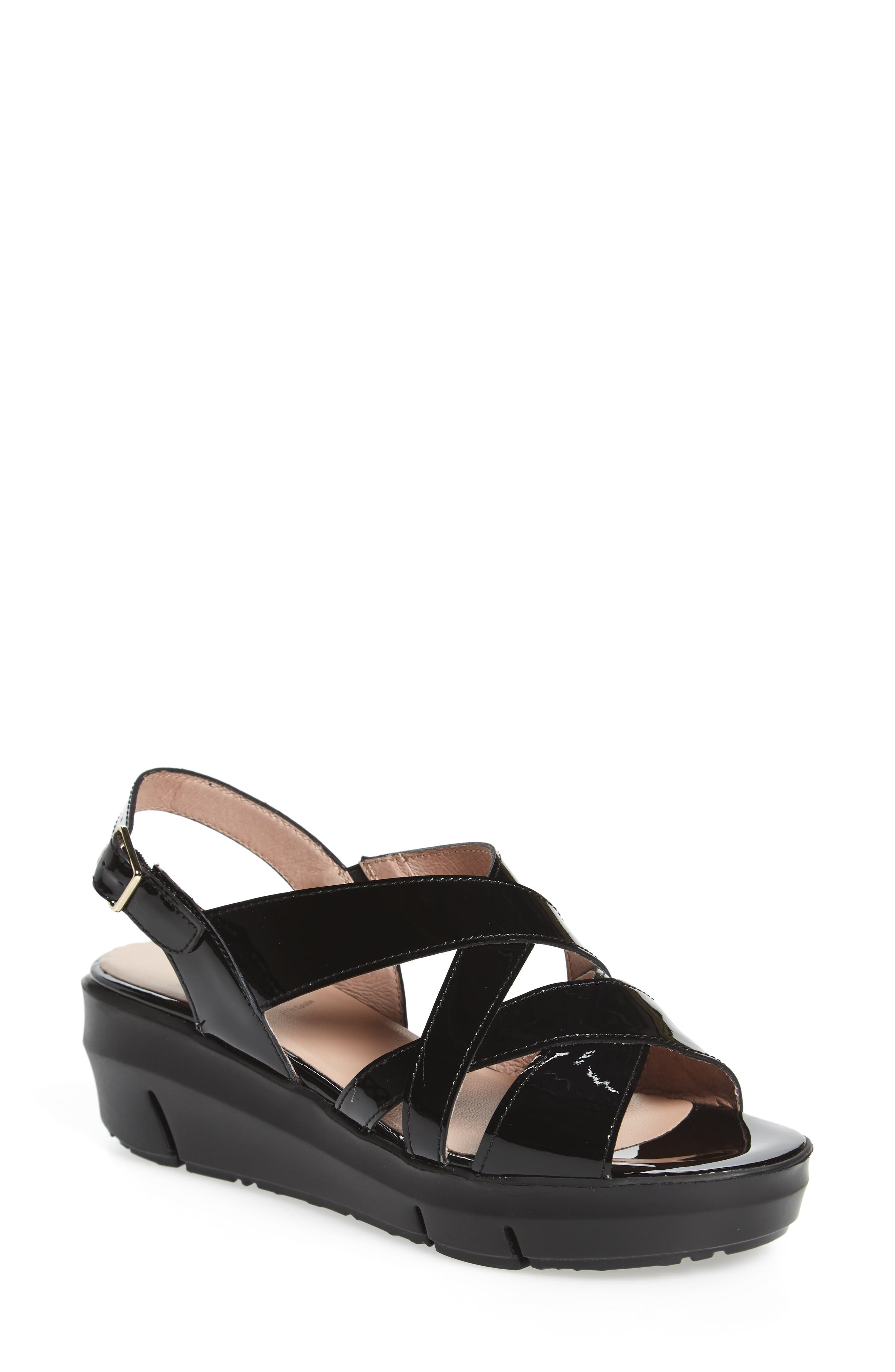 Wonders Platform Wedge Sandal - Black