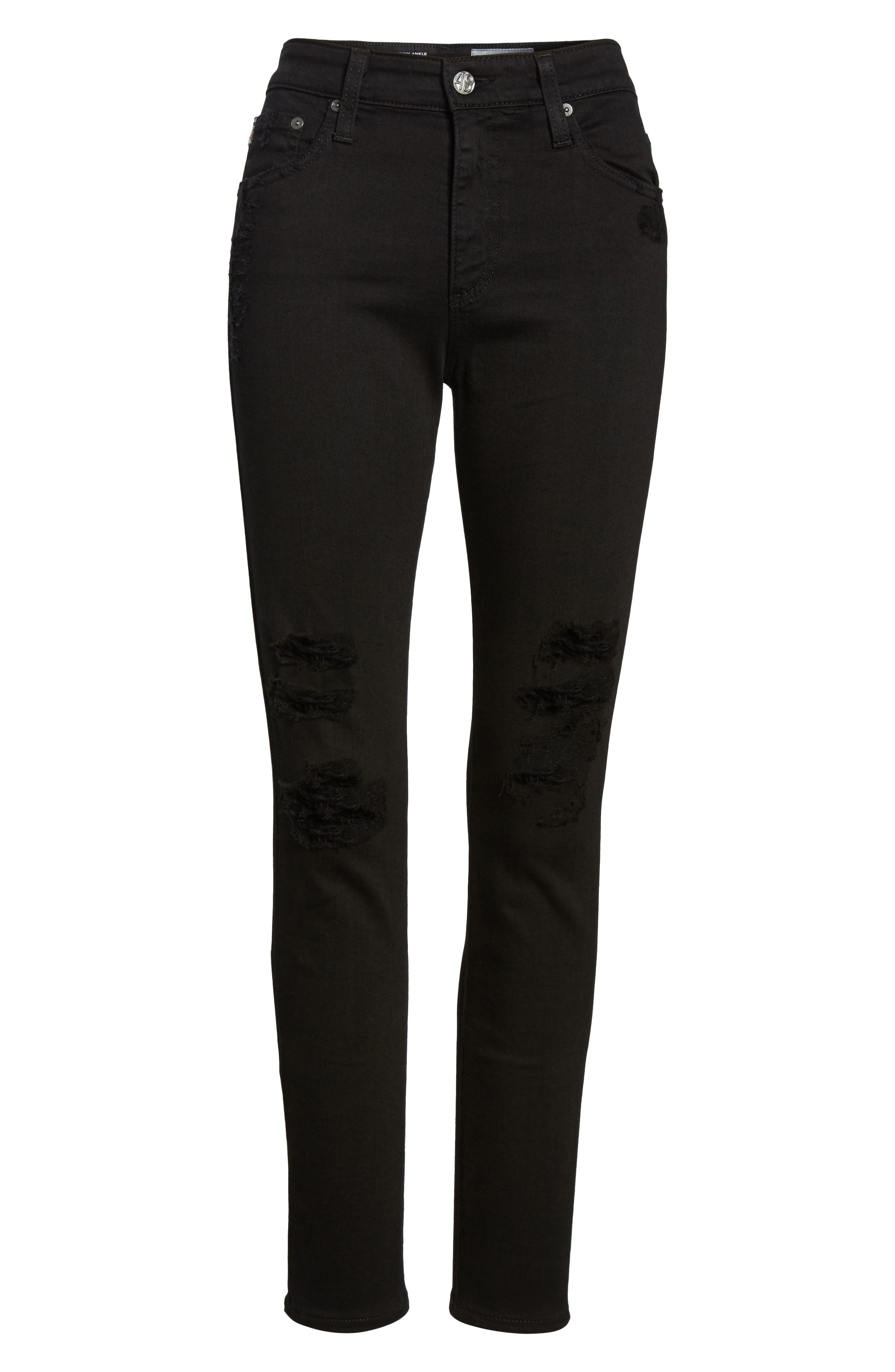 The Farrah High Waist Ankle Skinny Faux Leather Pants,                             Alternate thumbnail 7, color,                             015