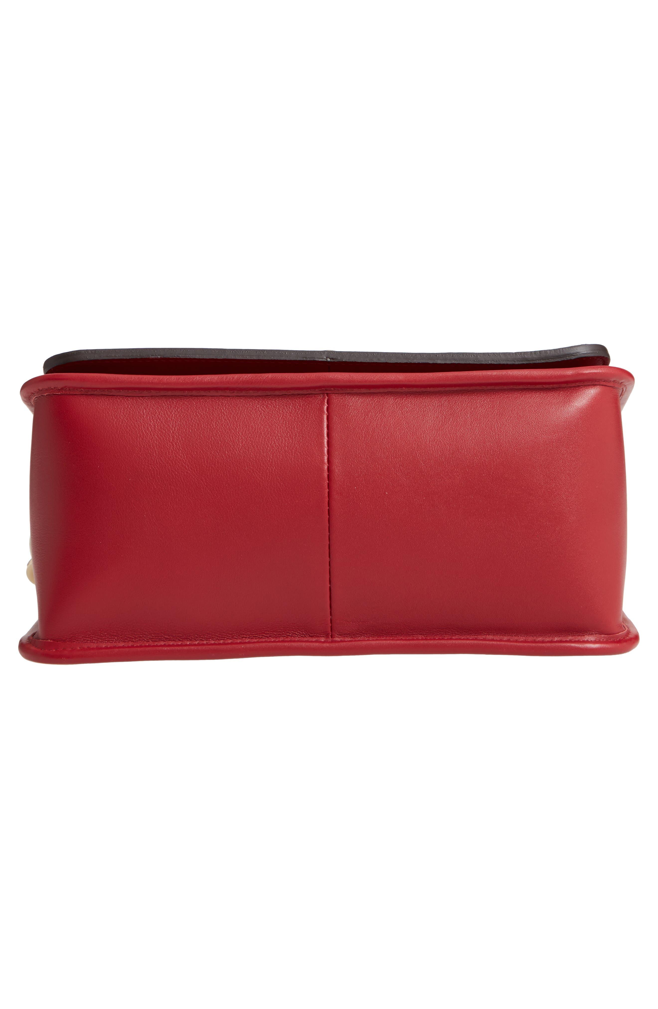 Mademoiselle Calfskin Leather Crossbody Bag,                             Alternate thumbnail 6, color,                             GARNET RED