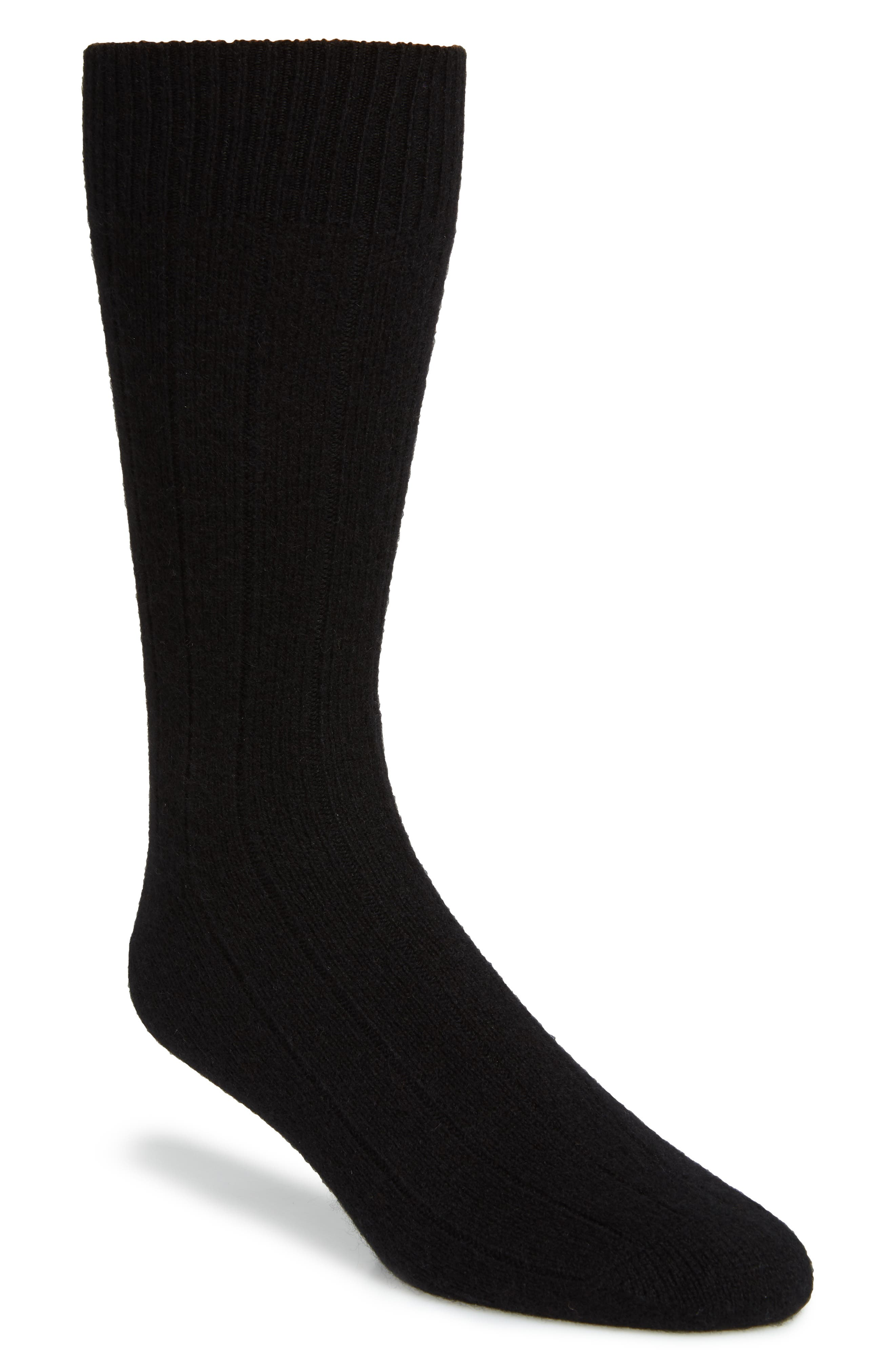 Ribbed Cashmere Blend Socks,                             Main thumbnail 1, color,                             001