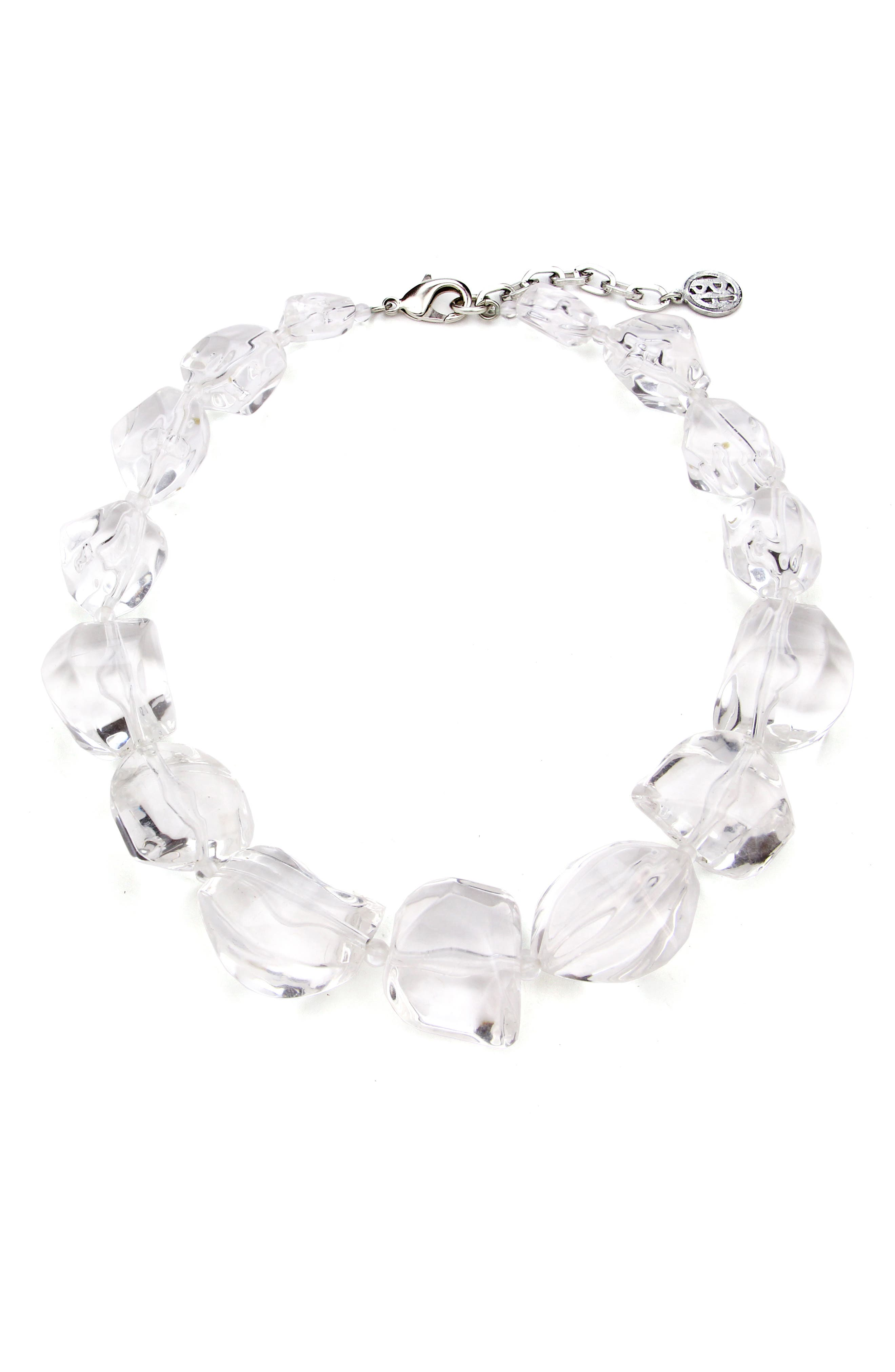 Geometric Clear Lucite<sup>®</sup> Necklace,                         Main,                         color, CLEAR/ SILVER