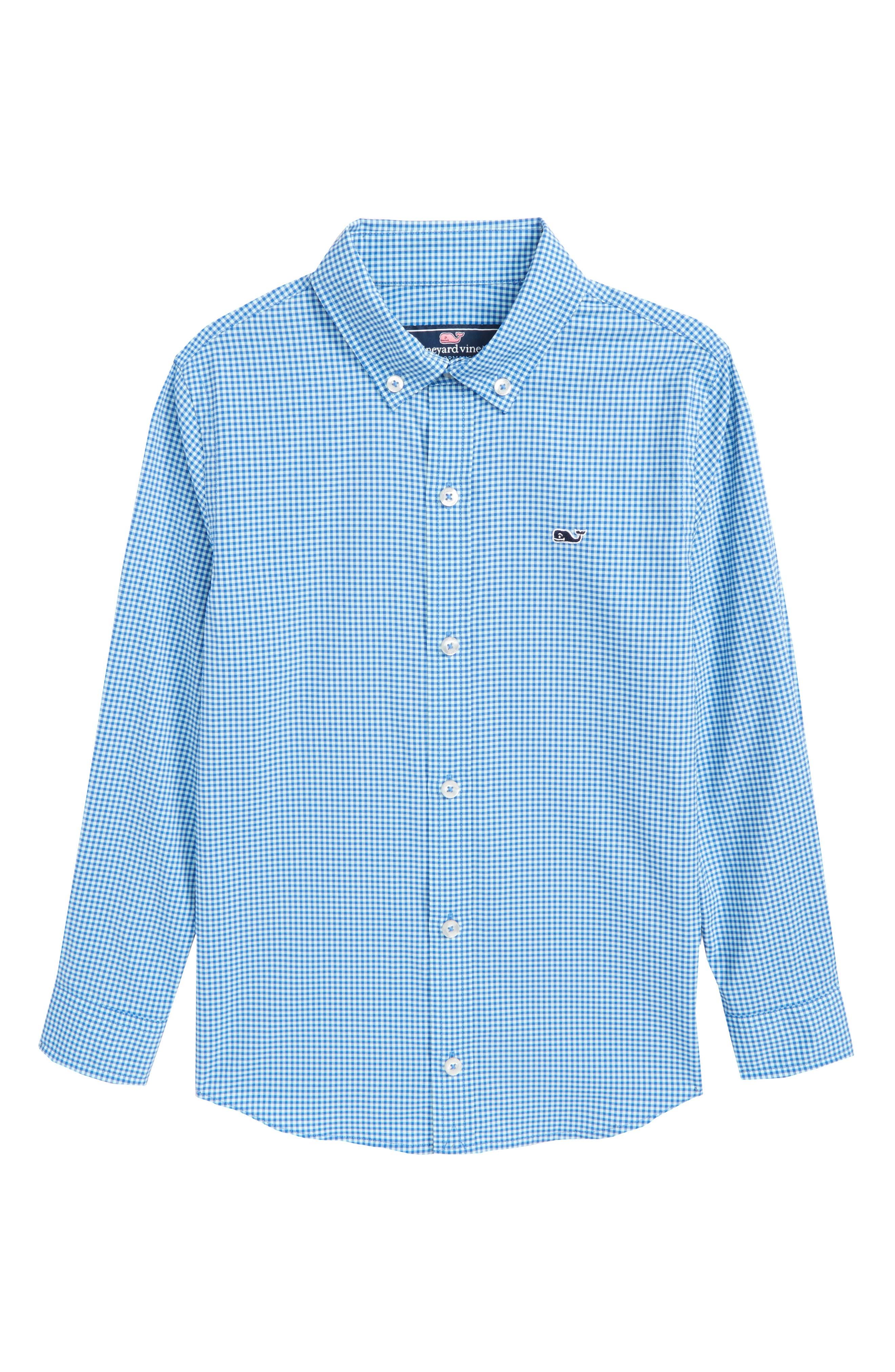 Marina Gingham Check Whale Shirt,                         Main,                         color, 451