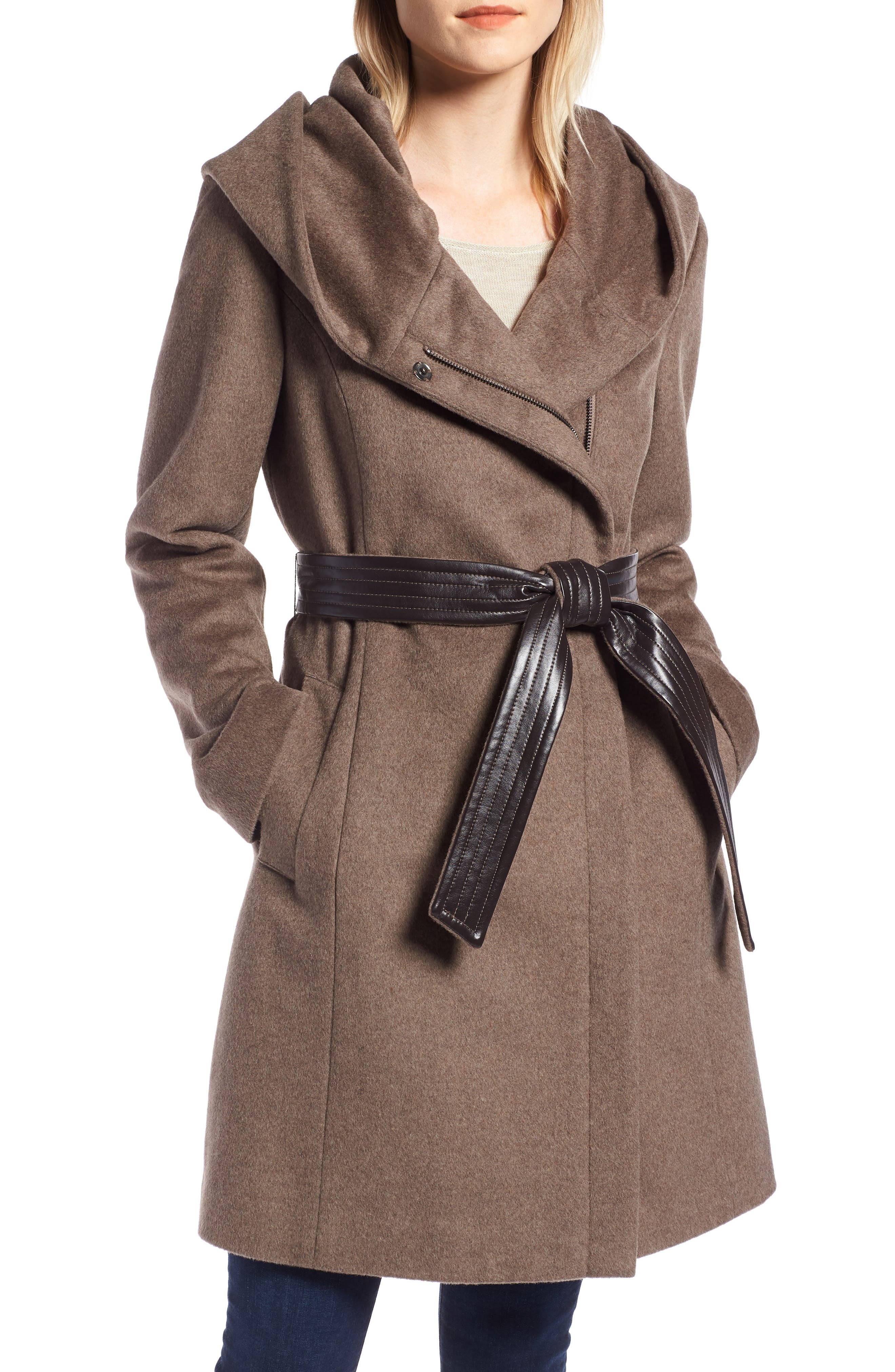 Cole Haan Belted Asymmetrical Wool Coat,                         Main,                         color, PORTOBELLO