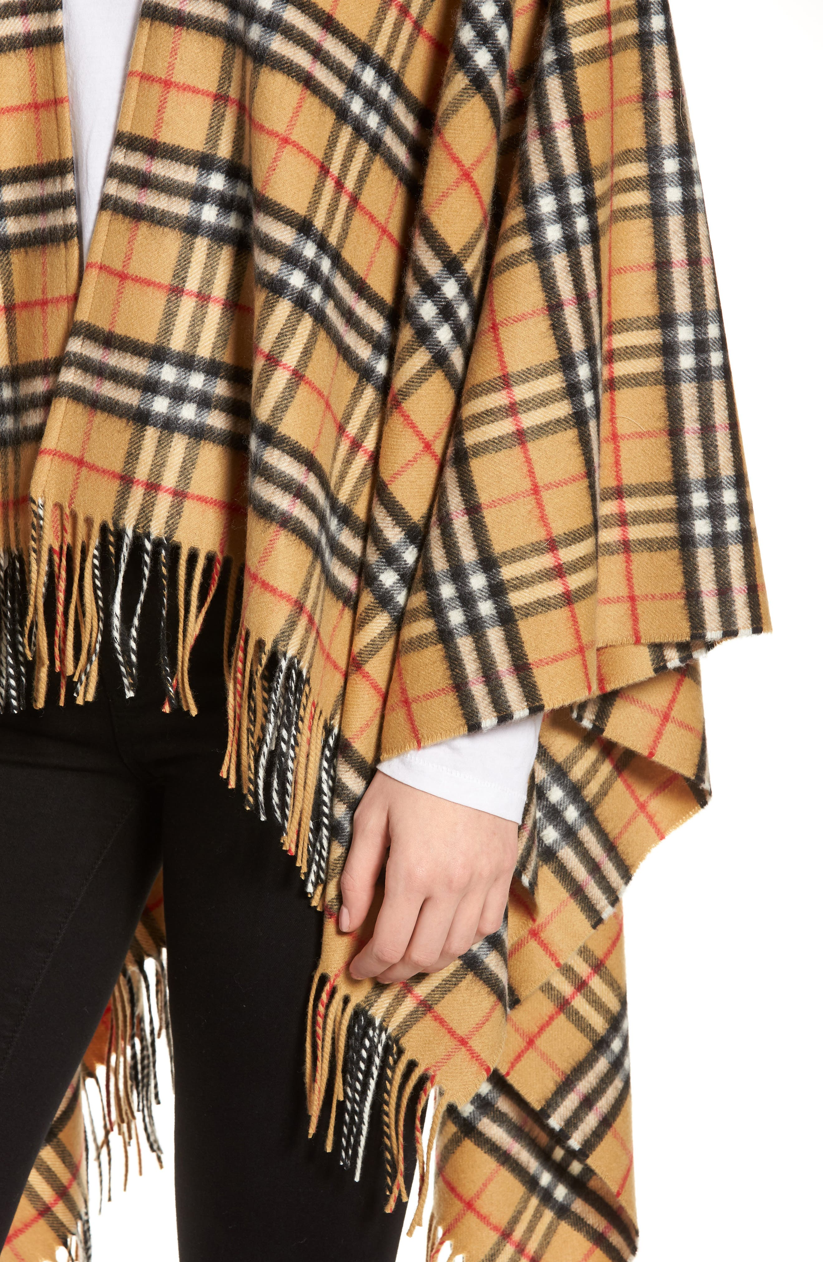 Vintage Check Cashmere & Wool Cape,                             Alternate thumbnail 4, color,                             ANTIQUE YELLOW
