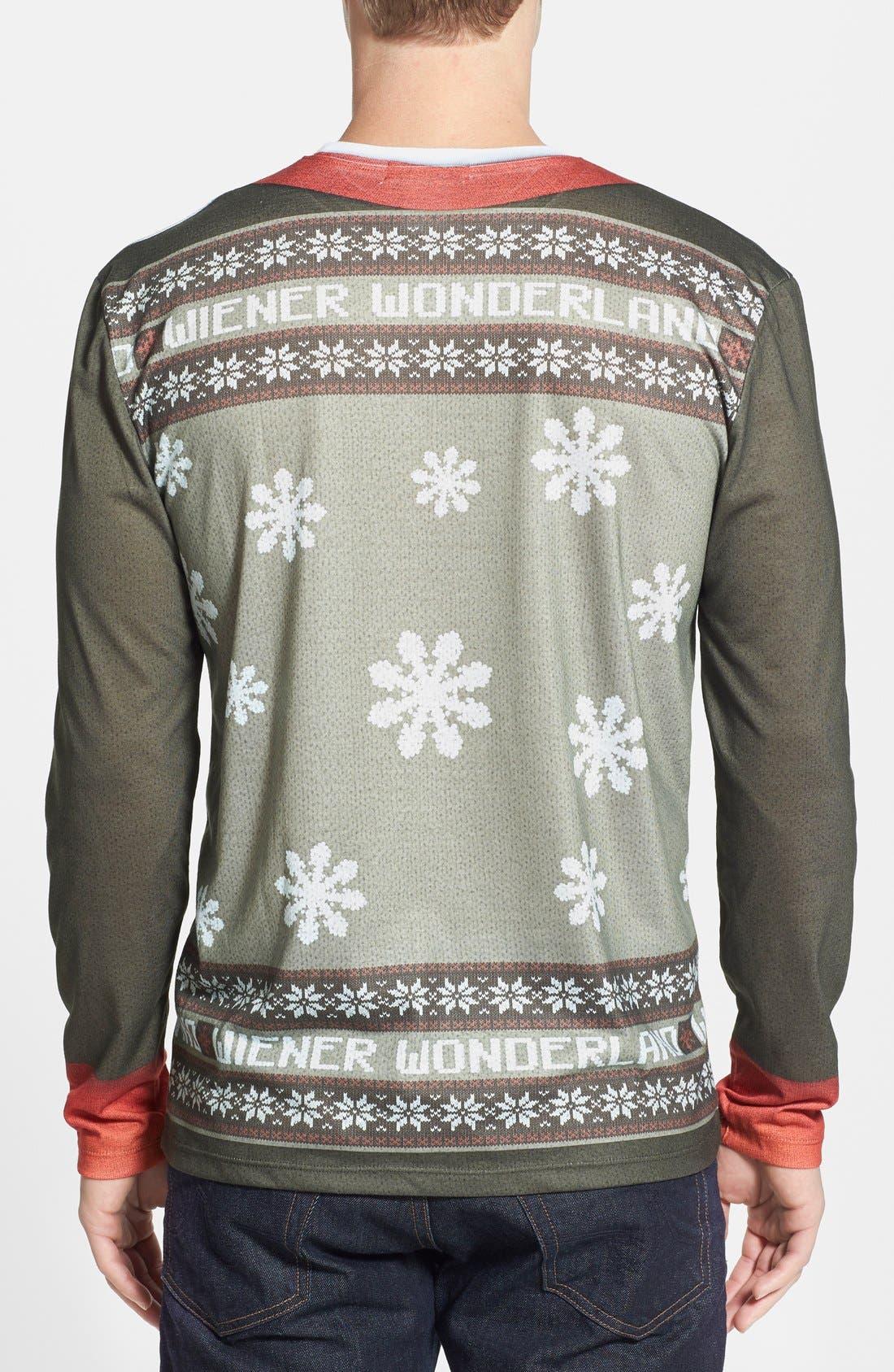 FAUX REAL,                             'Wiener Wonderland' Ugly Christmas Long Sleeve Novelty T-Shirt,                             Alternate thumbnail 5, color,                             200