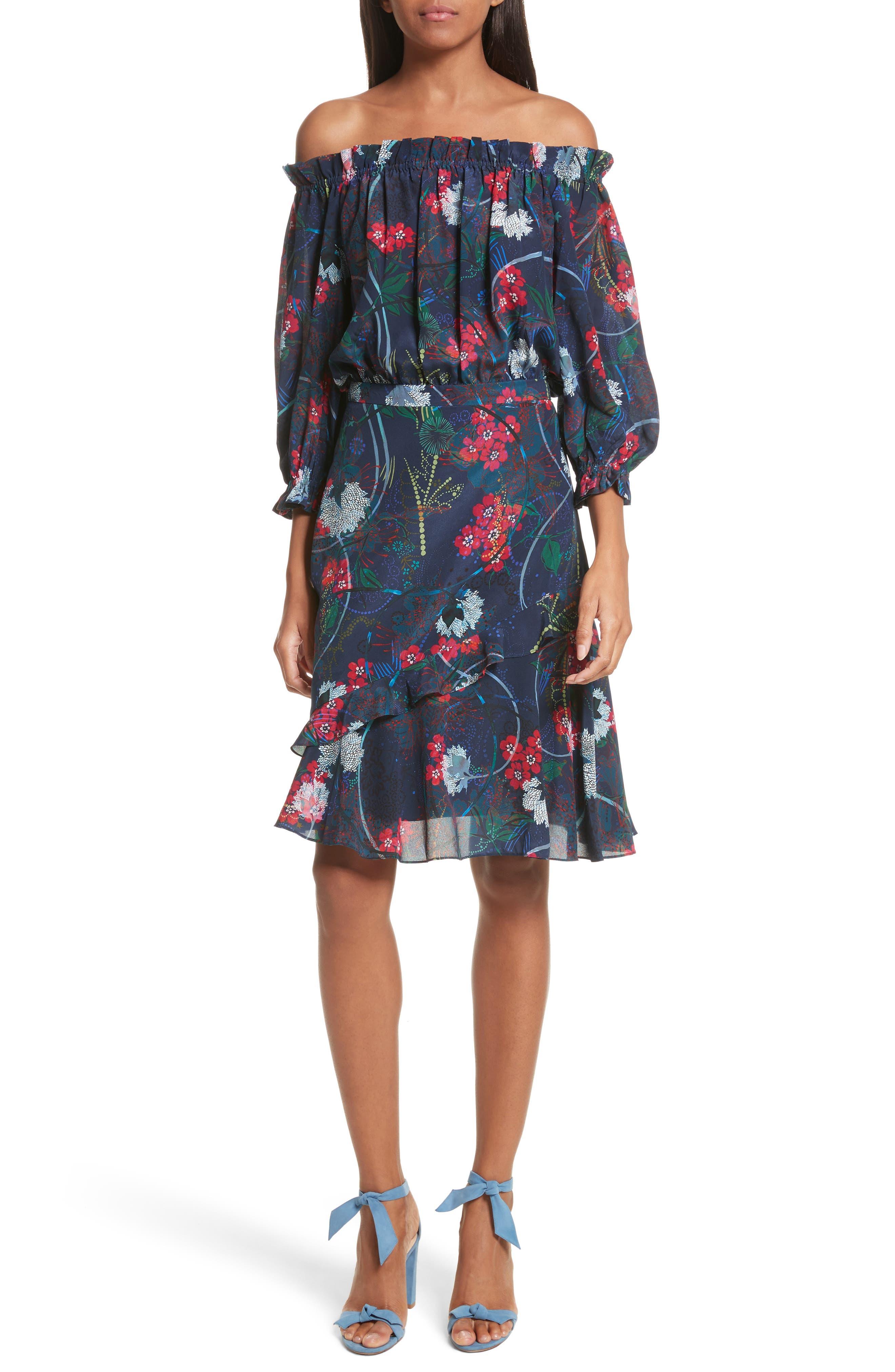 Grace Print Off the Shoulder Silk Dress,                             Main thumbnail 2, color,
