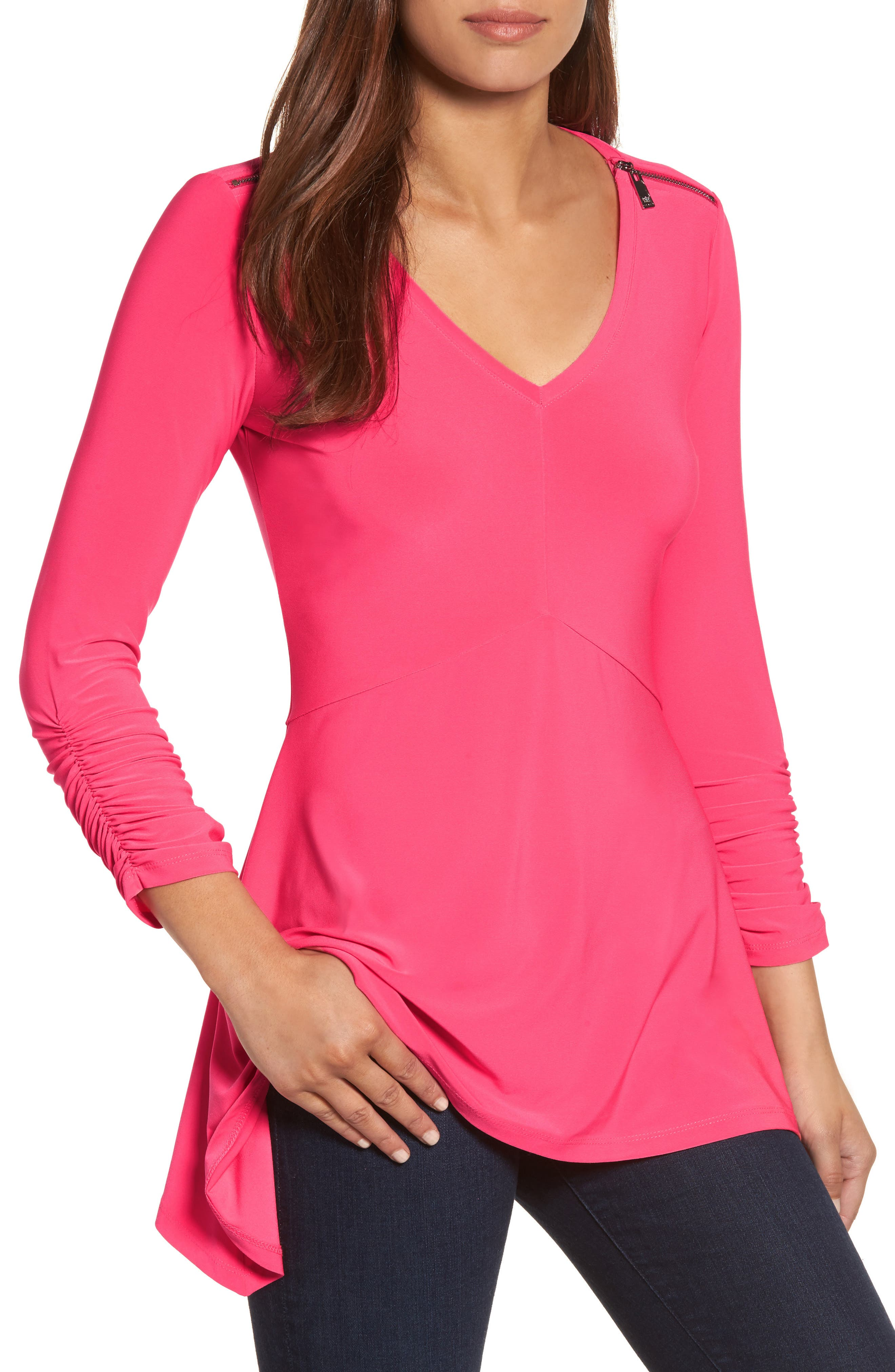 Zip Shoulder Handkerchief Top,                             Main thumbnail 3, color,