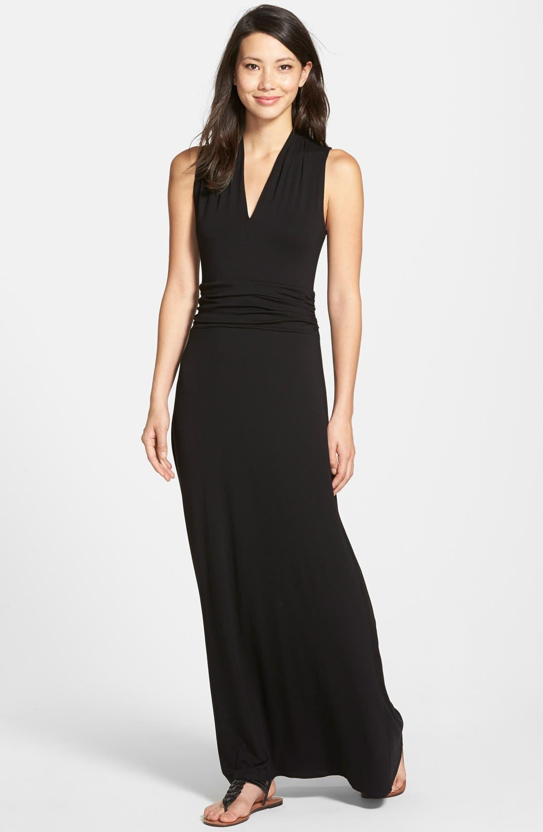 V-Neck Maxi Dress,                         Main,                         color, RICH BLACK