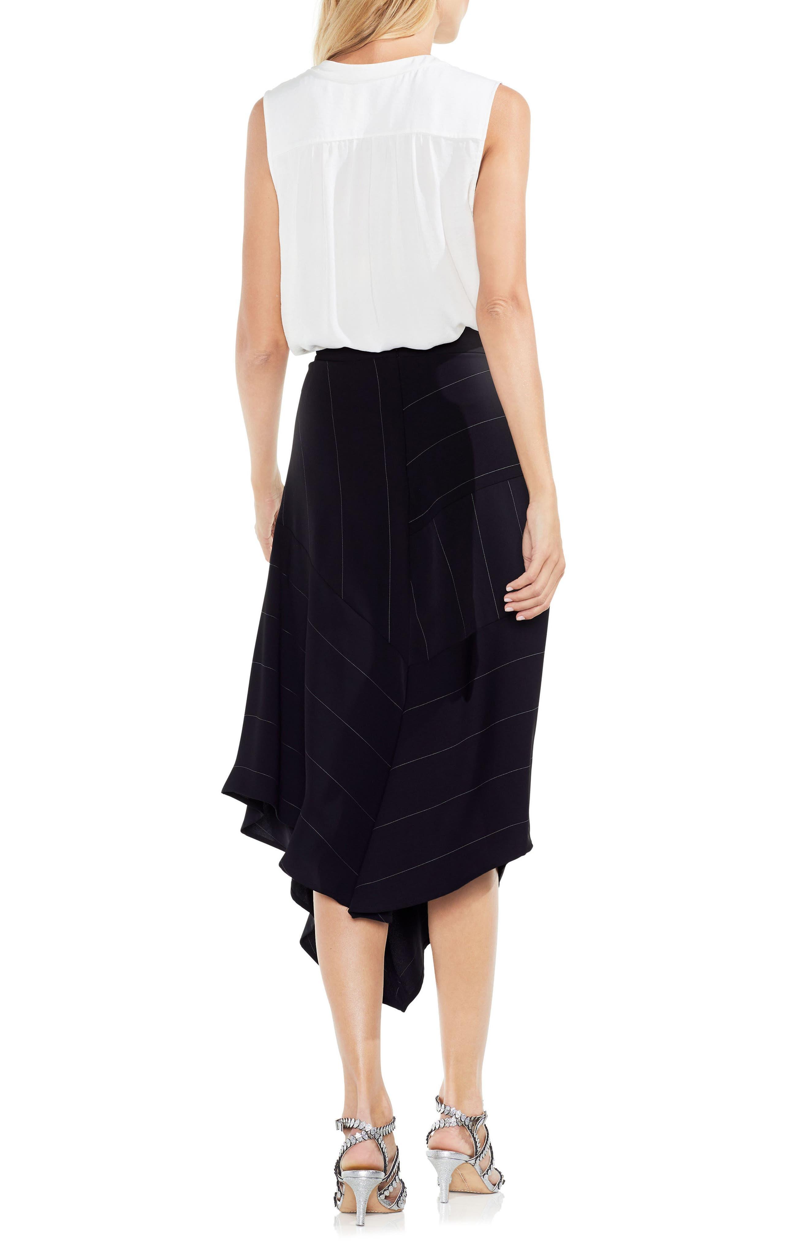 Chalk Stripe Asymmetrical Hem Skirt,                             Alternate thumbnail 4, color,                             006