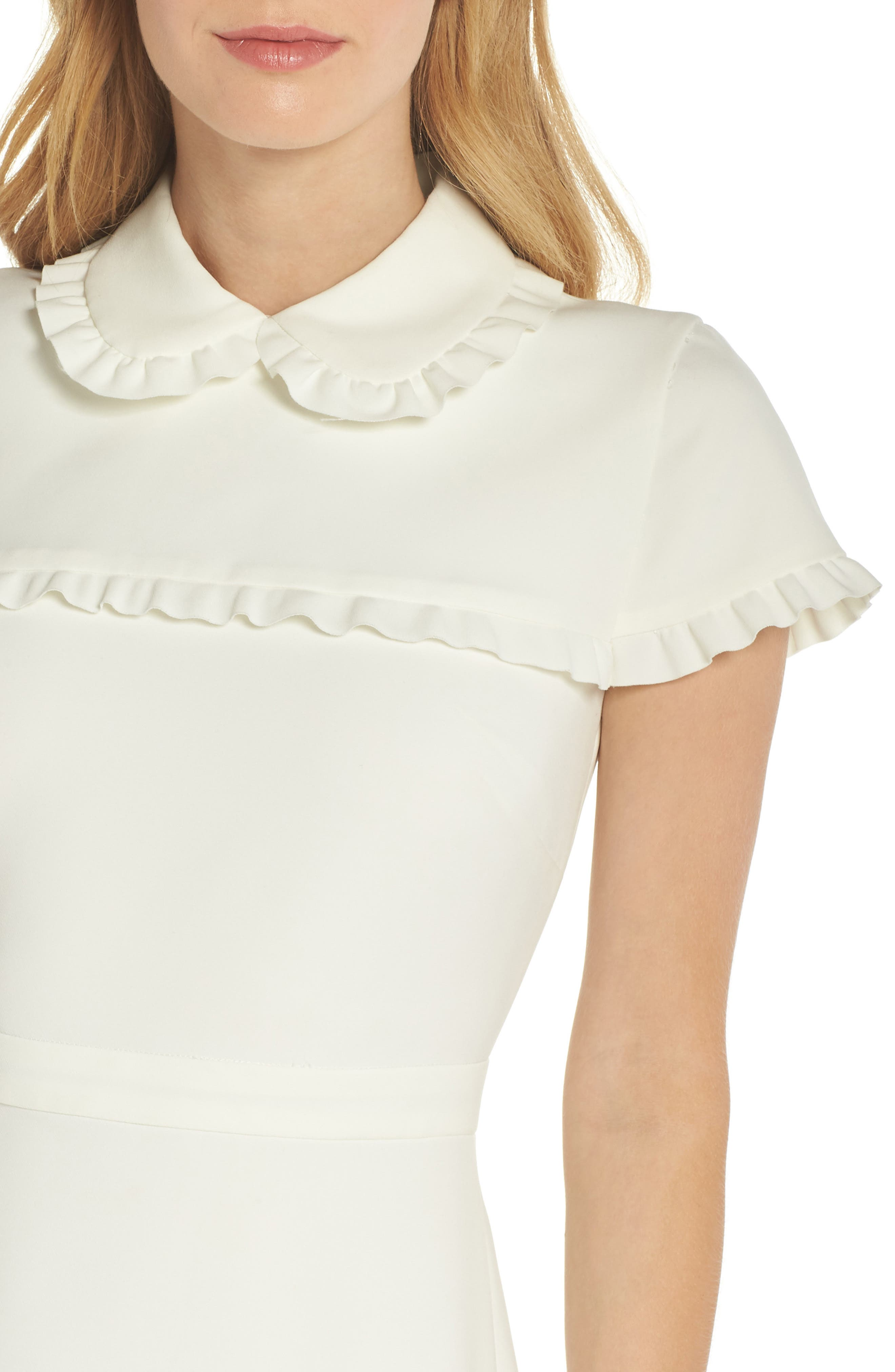 Emma Ruffle Crepe Dress,                             Alternate thumbnail 4, color,                             WHITE