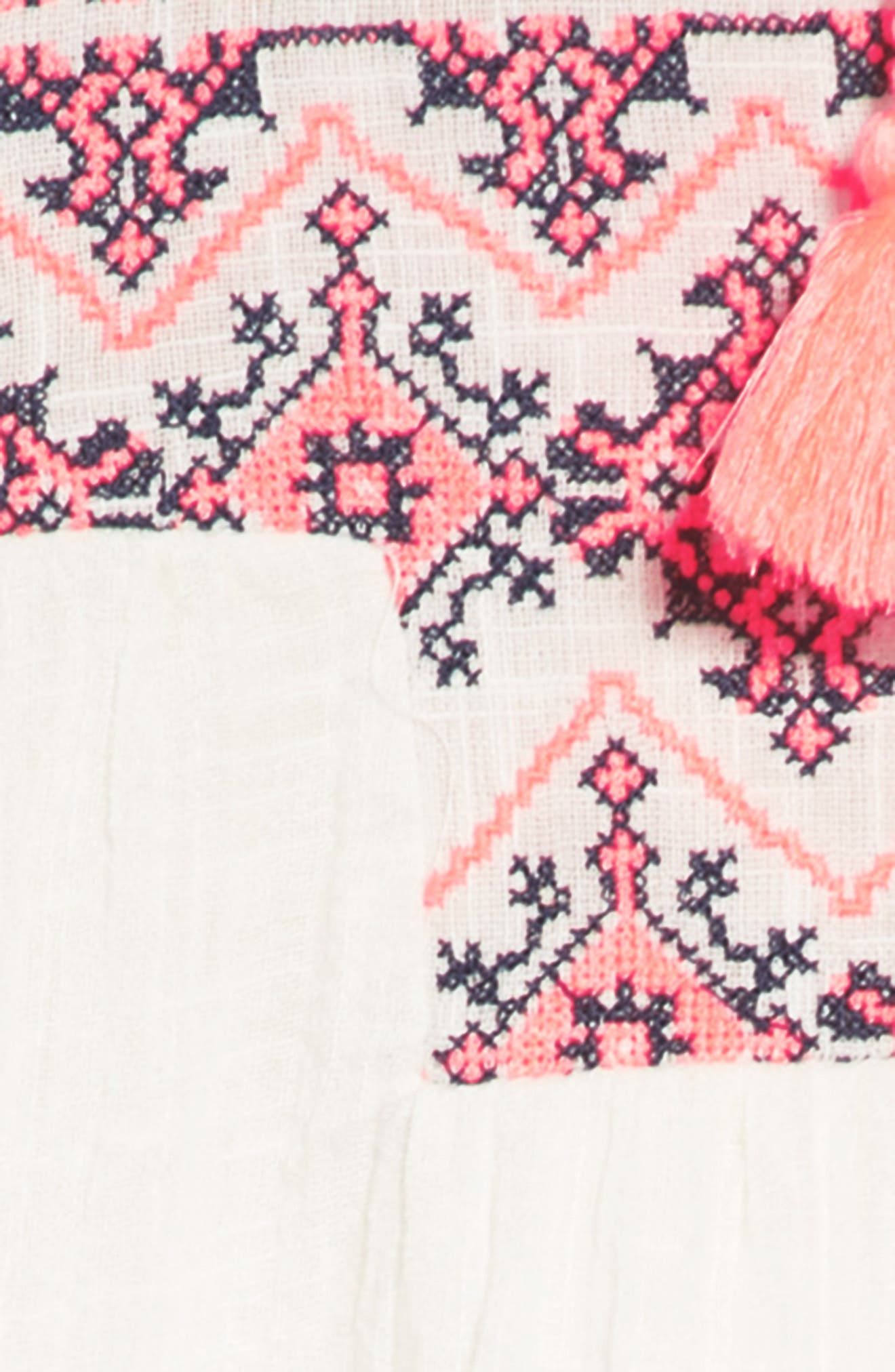 Ava Embroidered Shift Dress,                             Alternate thumbnail 3, color,                             100