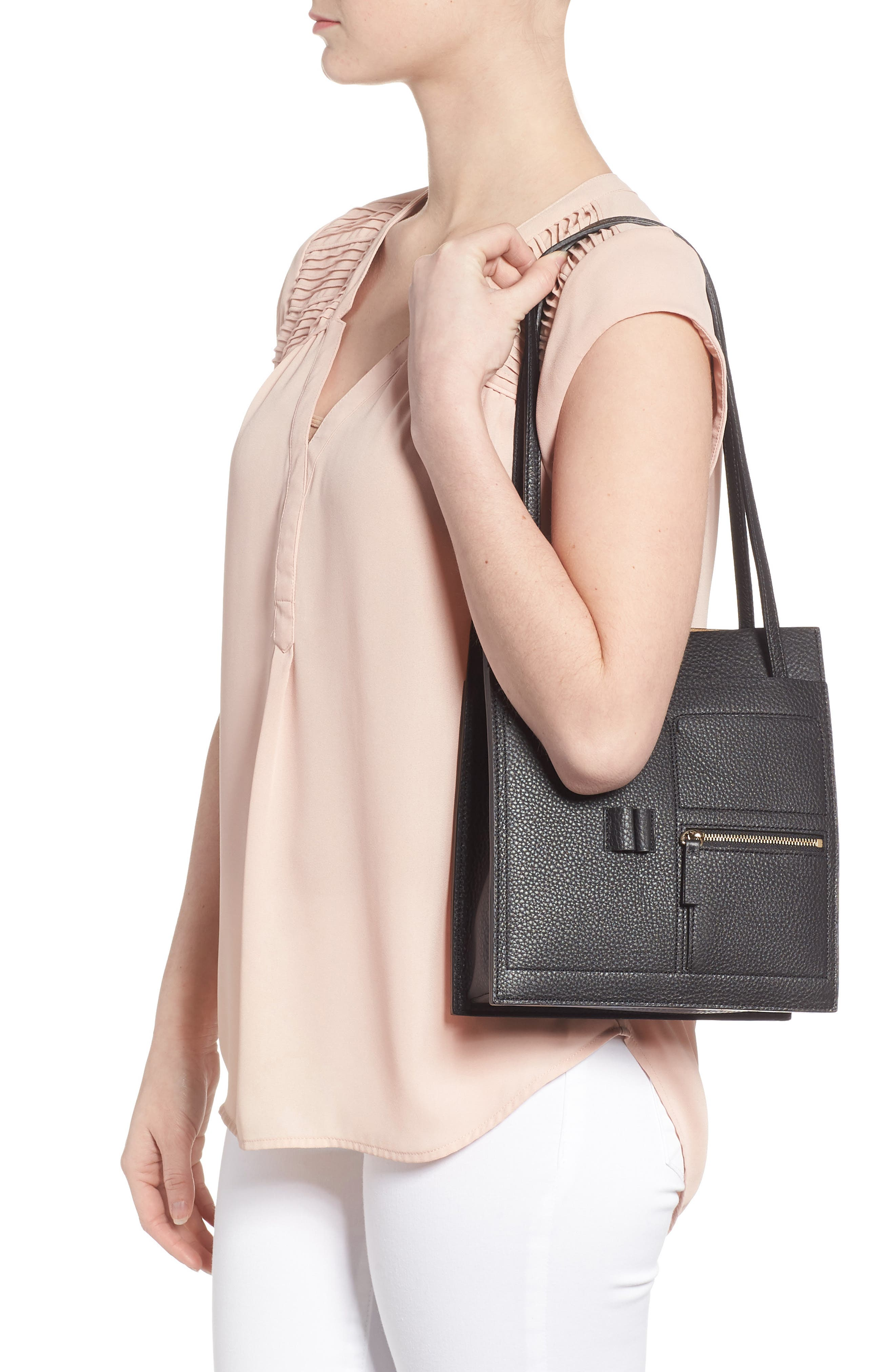 Kit Leather Convertible Shoulder Bag,                             Alternate thumbnail 2, color,                             TRUE BLACK