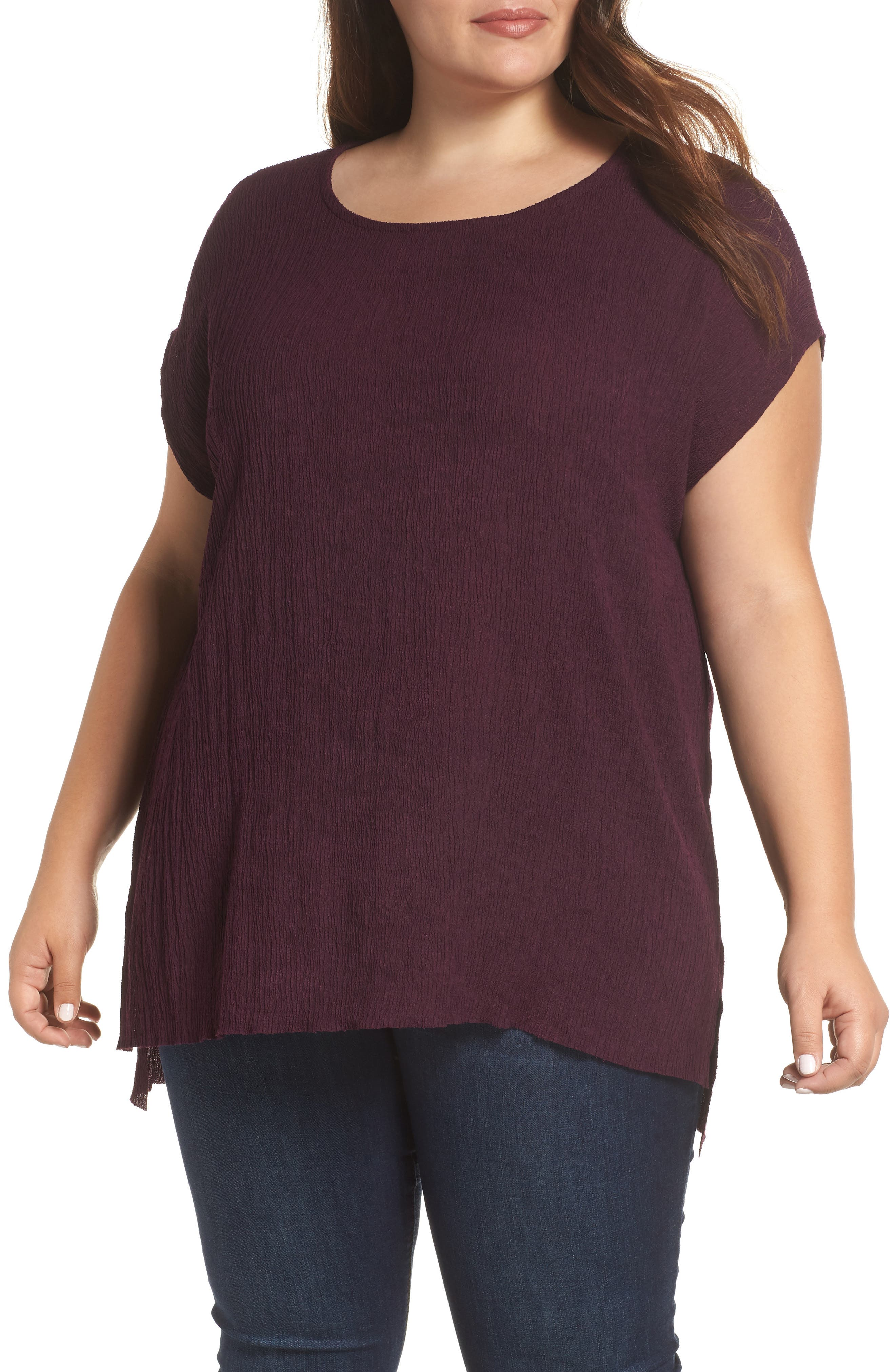 High/Low Crinkle Top,                         Main,                         color, PLUM WINE