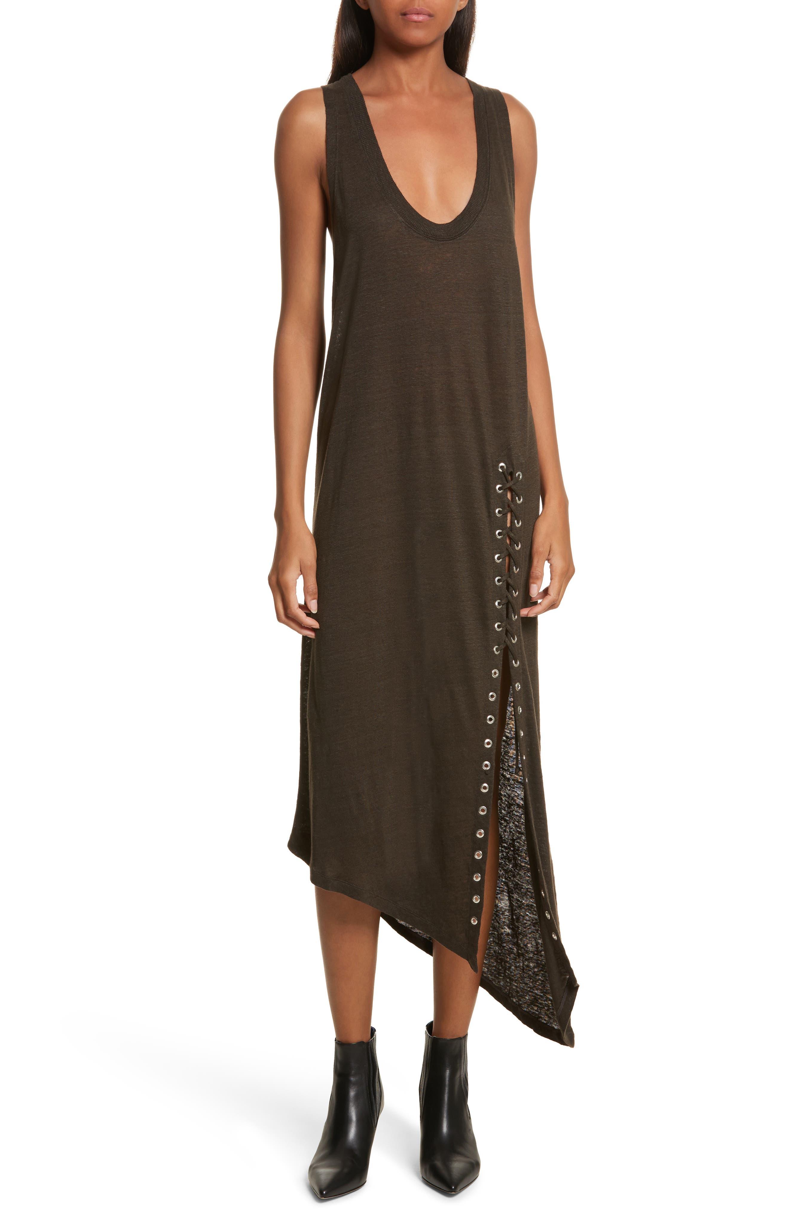 Karossi Asymmetrical Linen Tank Dress,                         Main,                         color, 029
