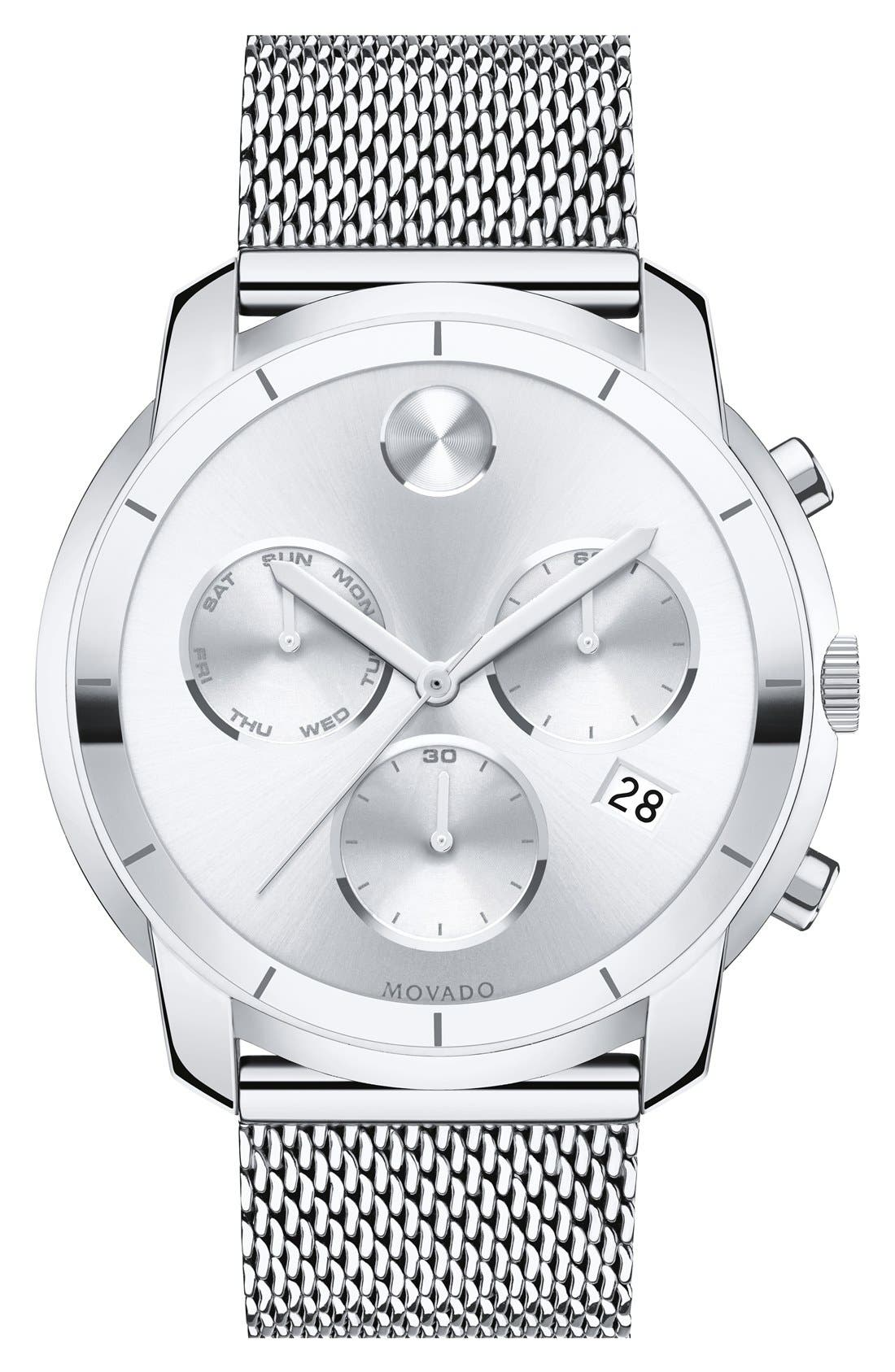 'Bold' Chronograph Mesh Strap Watch, 44mm, Main, color, SILVER