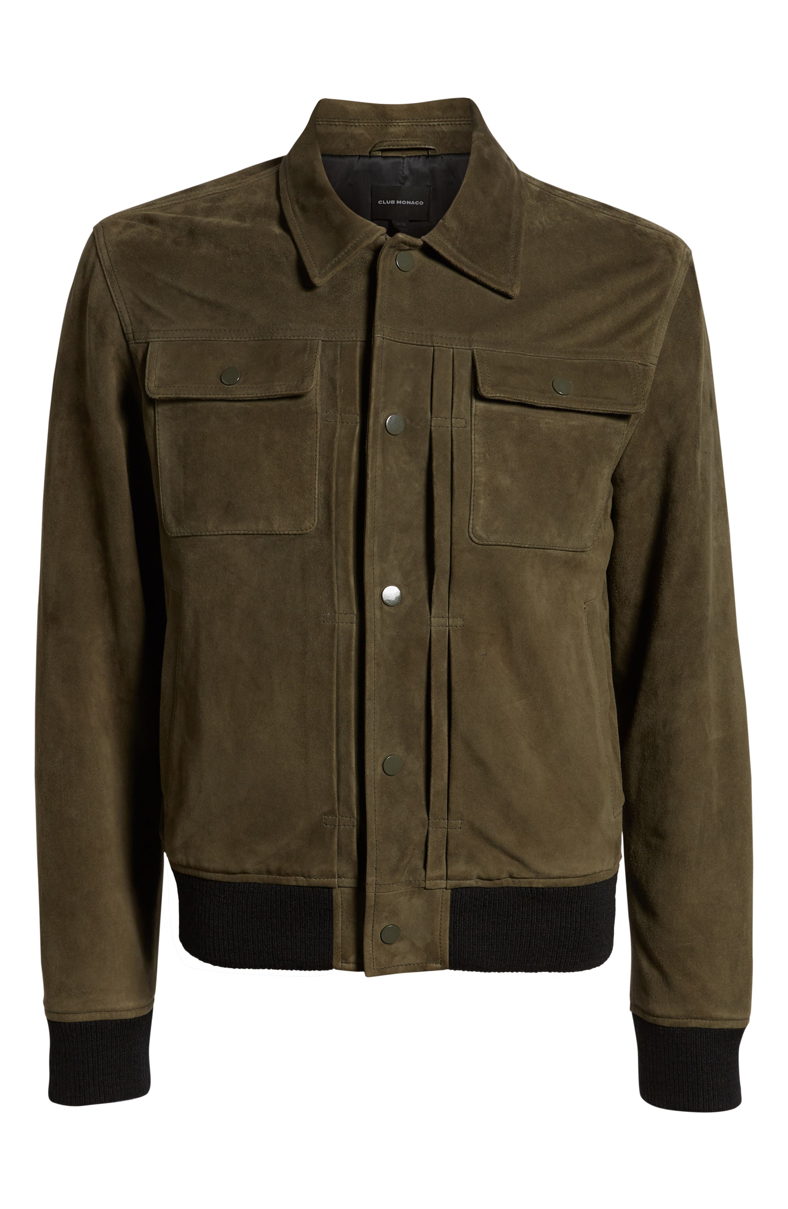 Suede Trucker Jacket,                             Alternate thumbnail 6, color,                             PALERMO OLIVE