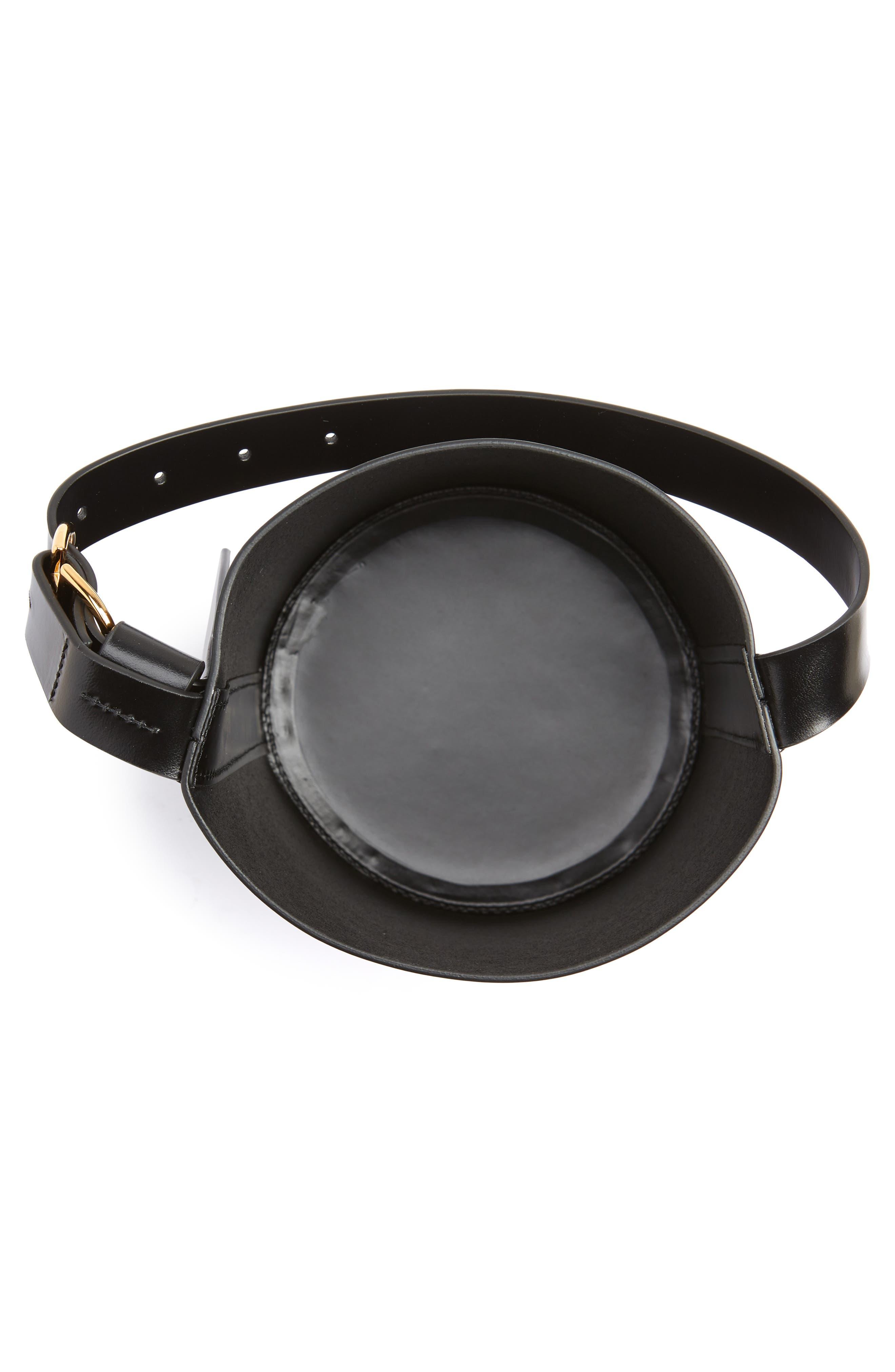 Small Leather Bucket Bag,                             Alternate thumbnail 4, color,                             BLACK/ BLACK