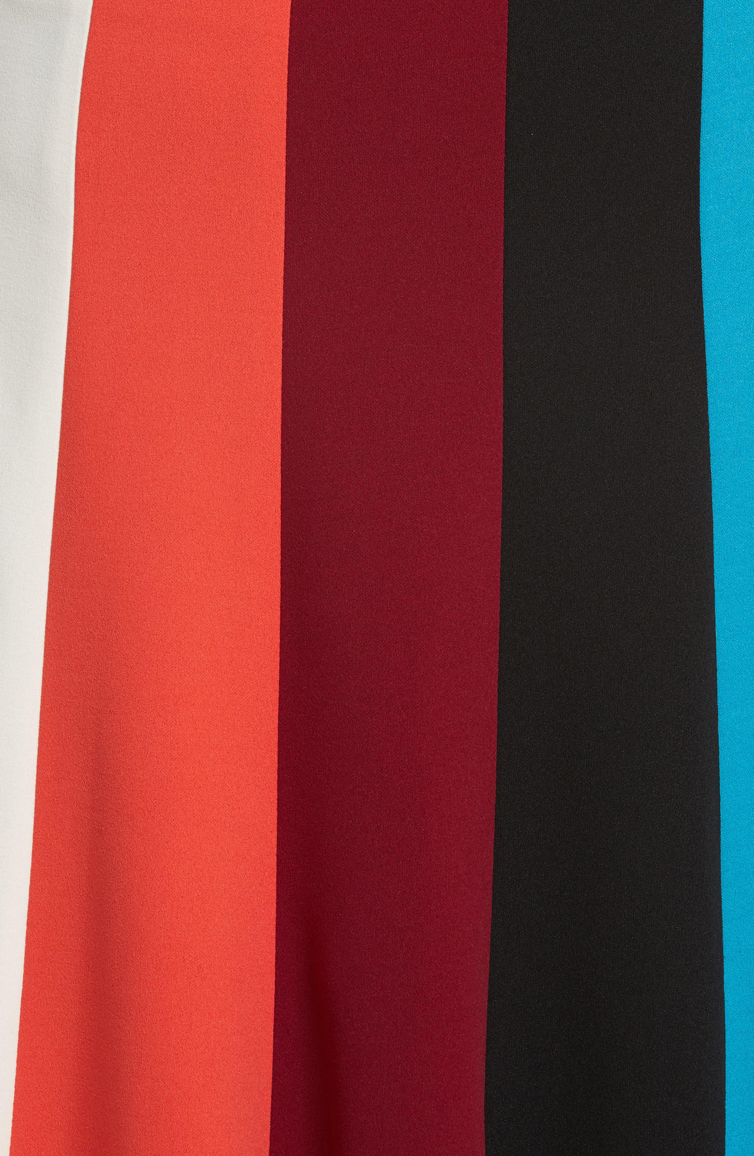 Colorblock Stripe Flared Skirt,                             Alternate thumbnail 5, color,                             498