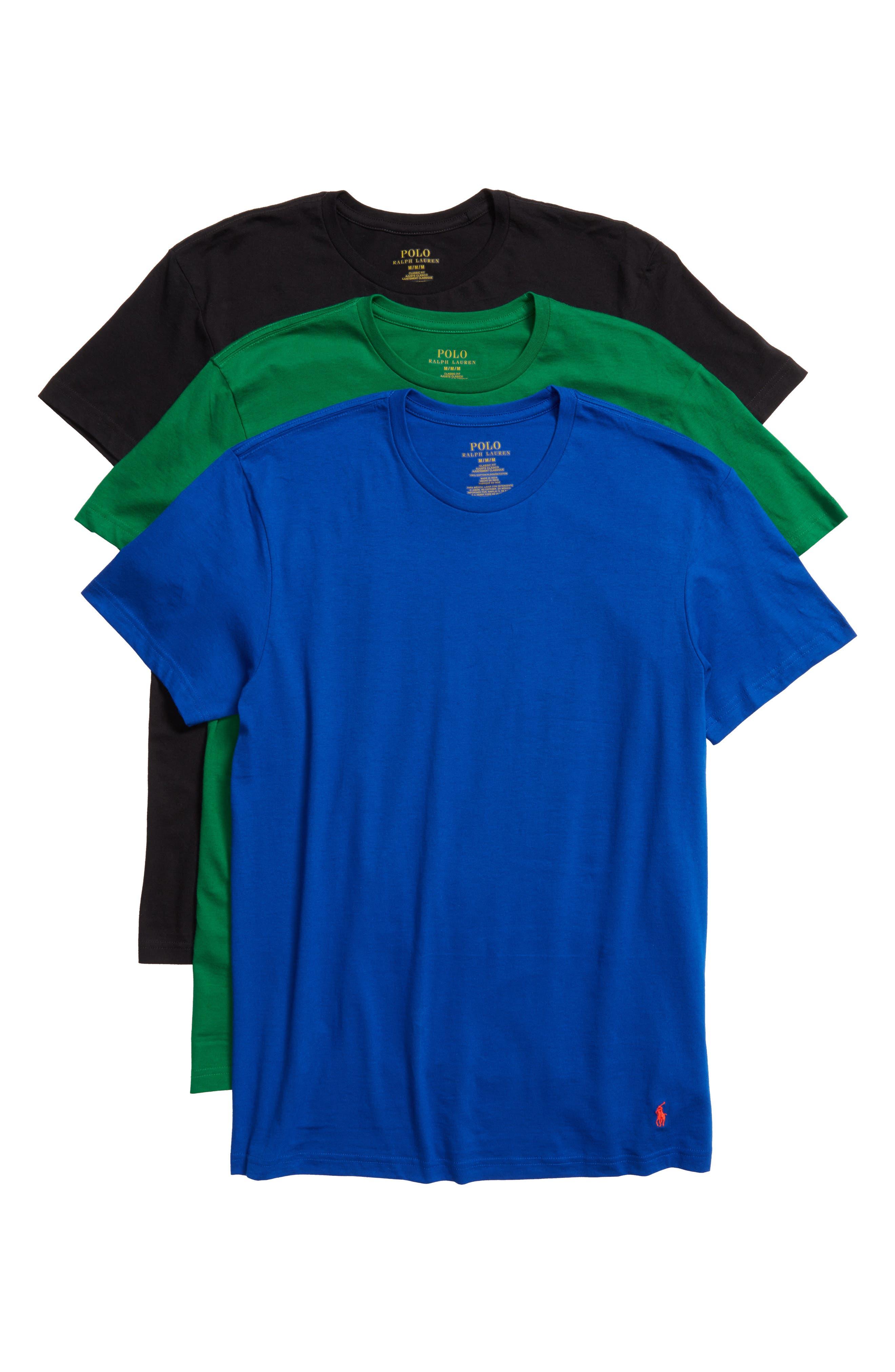 3-Pack Crewneck Cotton T-Shirts,                             Alternate thumbnail 6, color,                             001