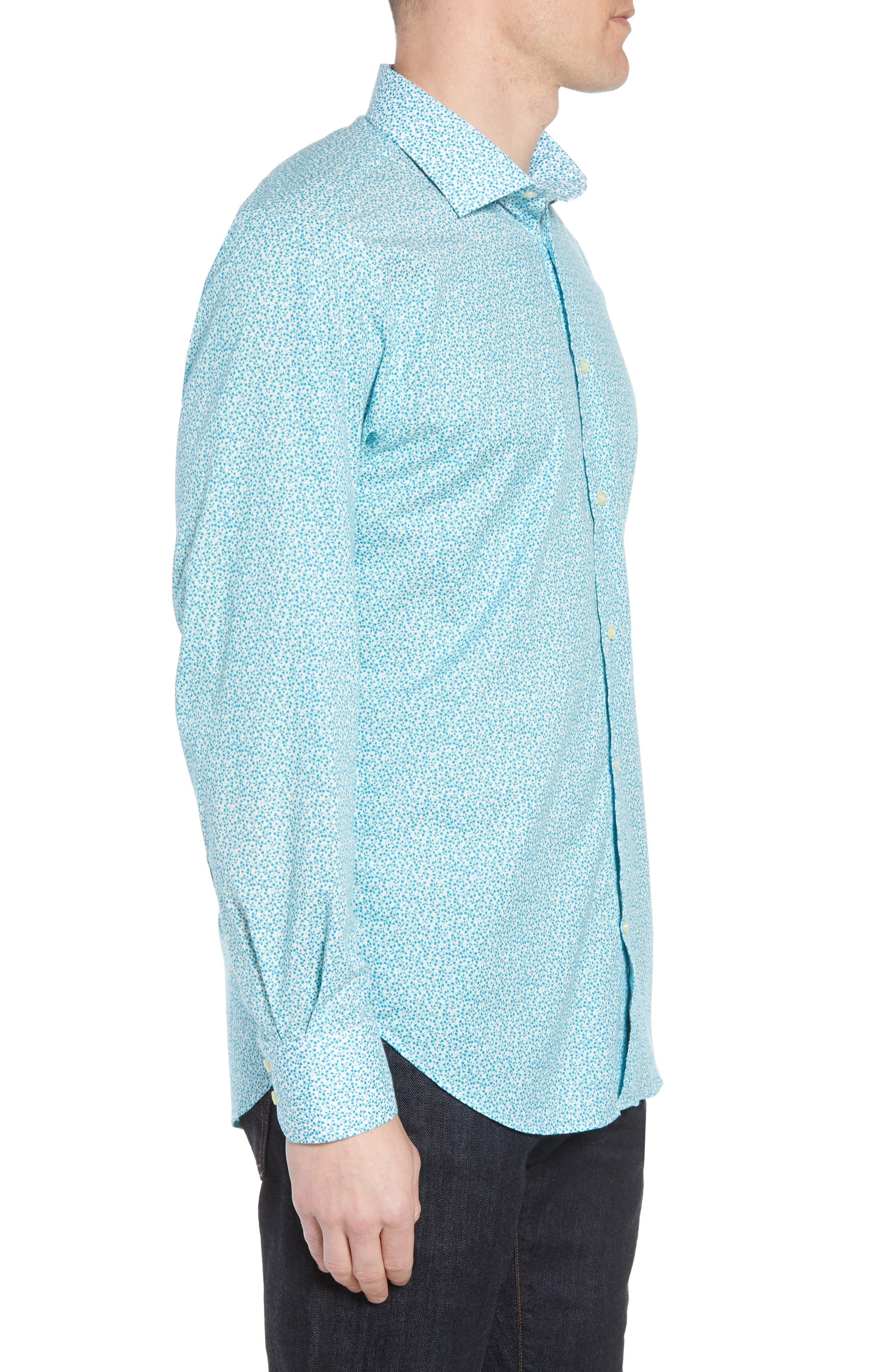 THOMAS DEAN,                             Regular Fit Floral Print Sport Shirt,                             Alternate thumbnail 3, color,                             300