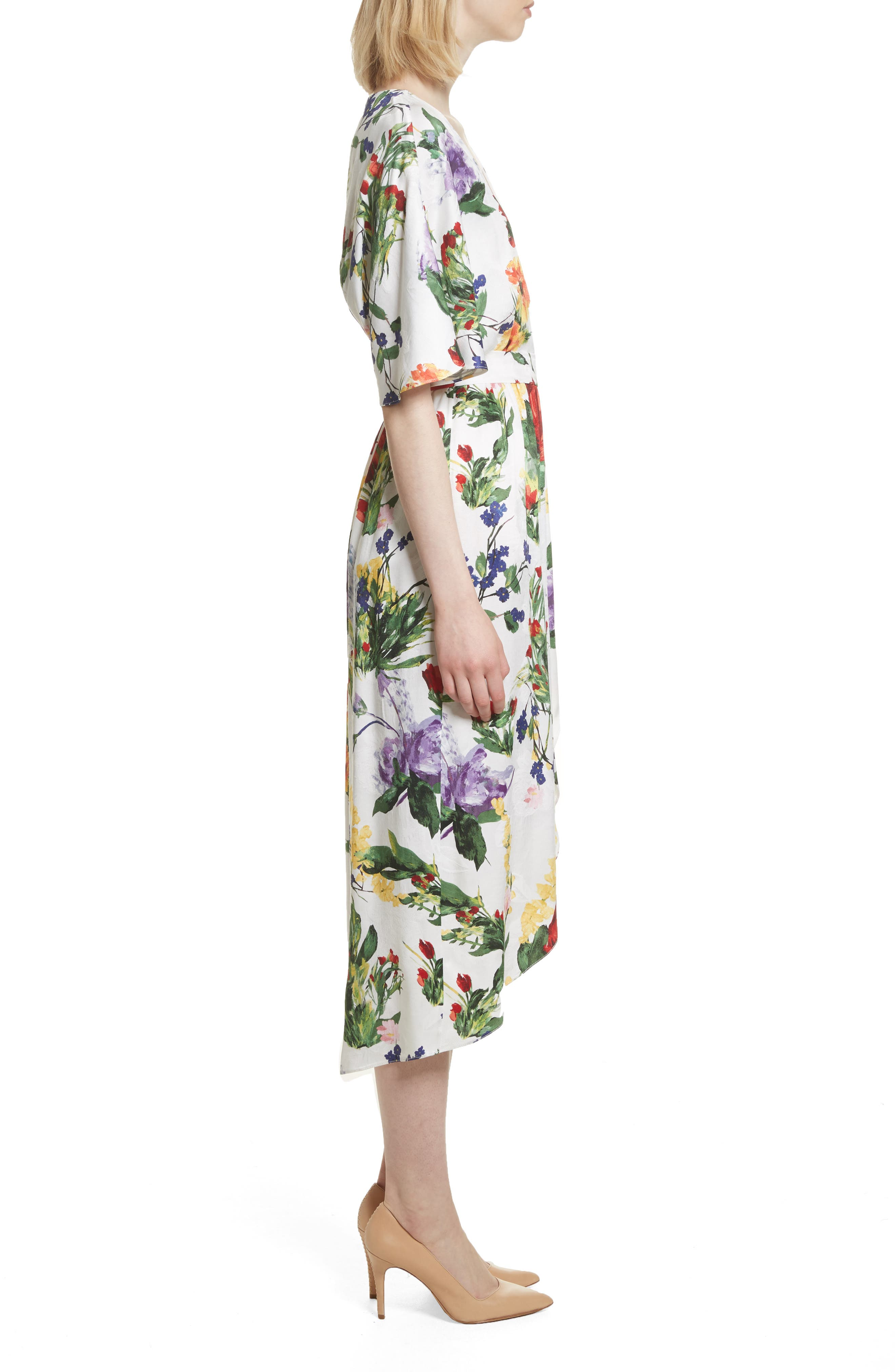 Clarine Floral Wrap Midi Dress,                             Alternate thumbnail 3, color,                             176