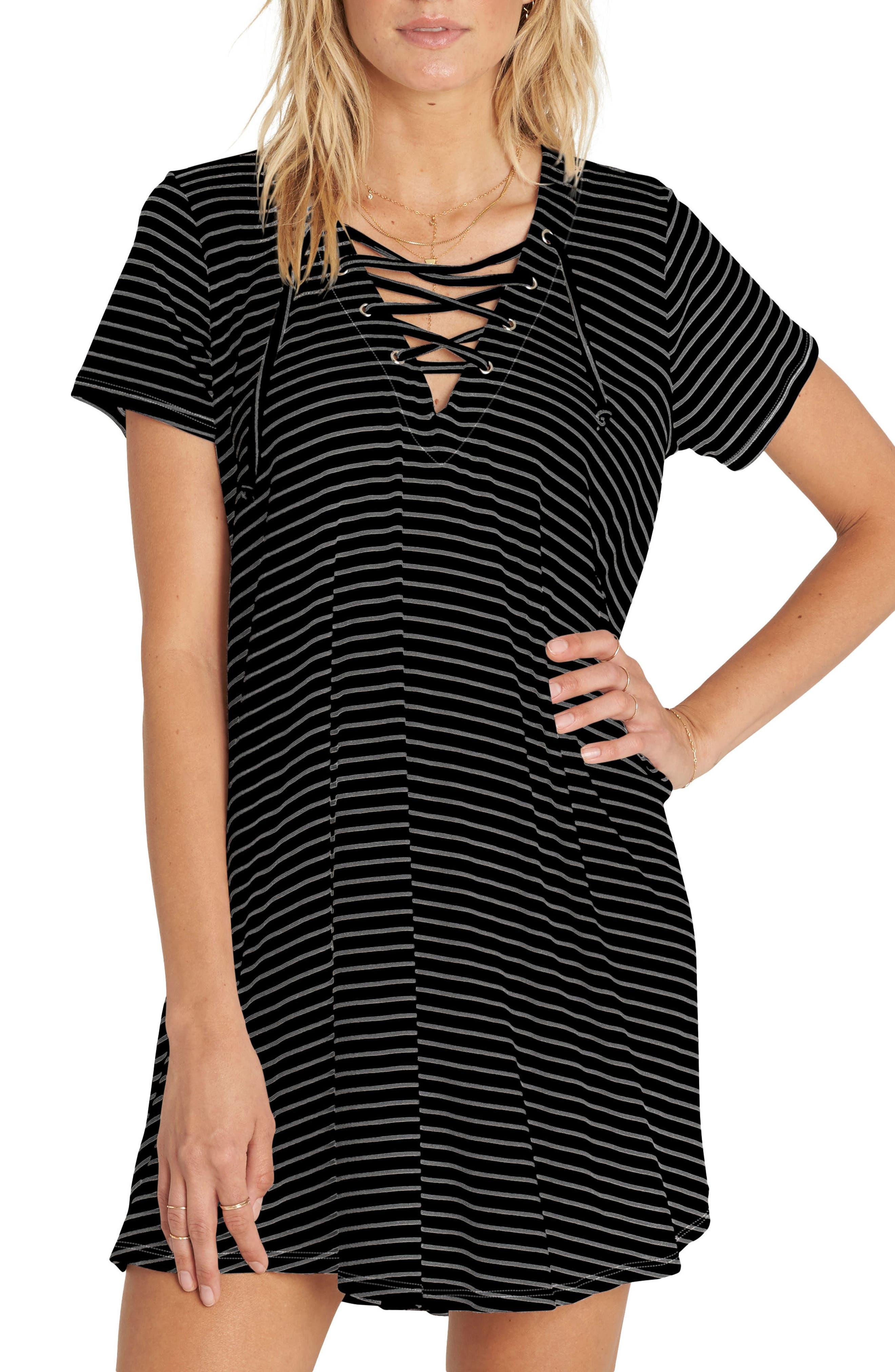 Long Ago Lace-Up T-Shirt Dress,                             Main thumbnail 1, color,                             001
