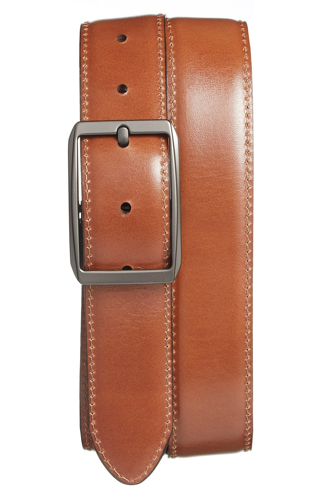 Reversible Leather Belt,                             Alternate thumbnail 2, color,                             DARK BROWN/ TAN