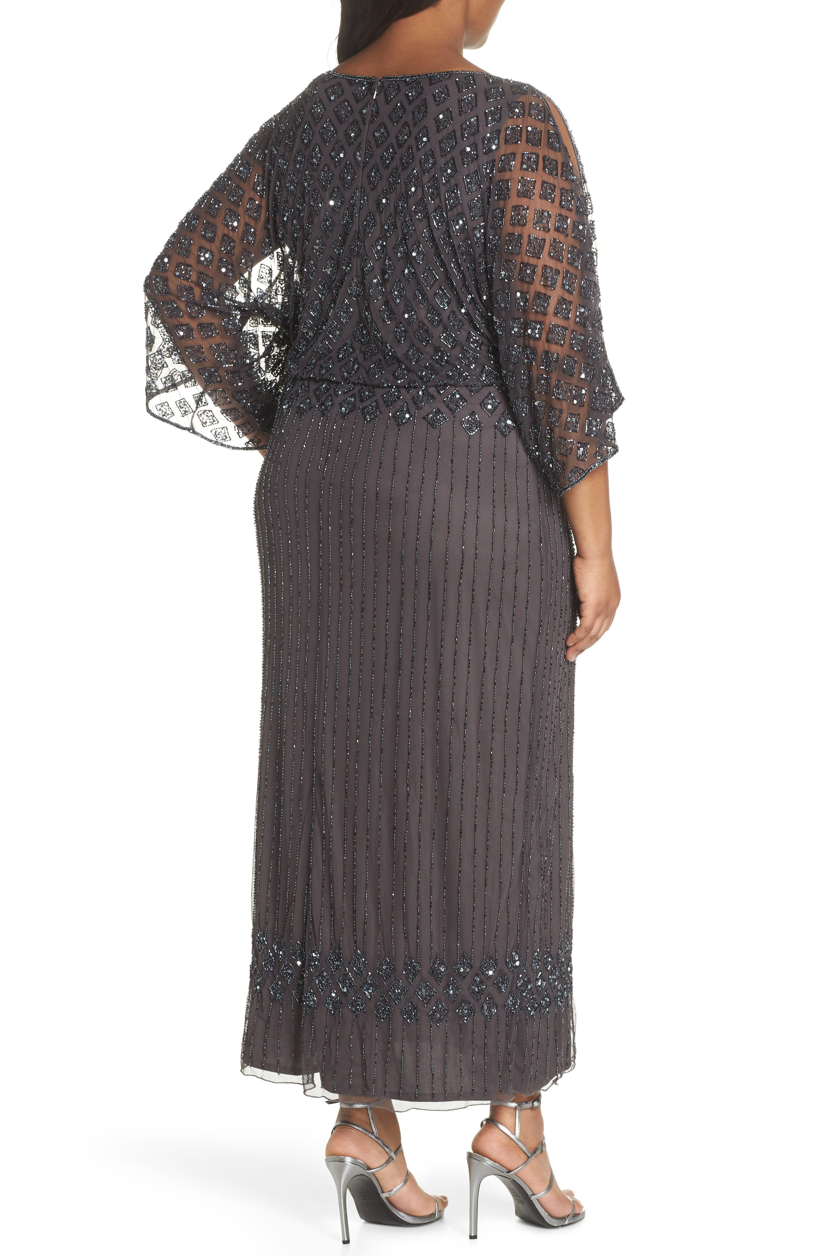 PISARRO NIGHTS,                             Diamond Motif Mesh Blouson Gown,                             Alternate thumbnail 2, color,                             020