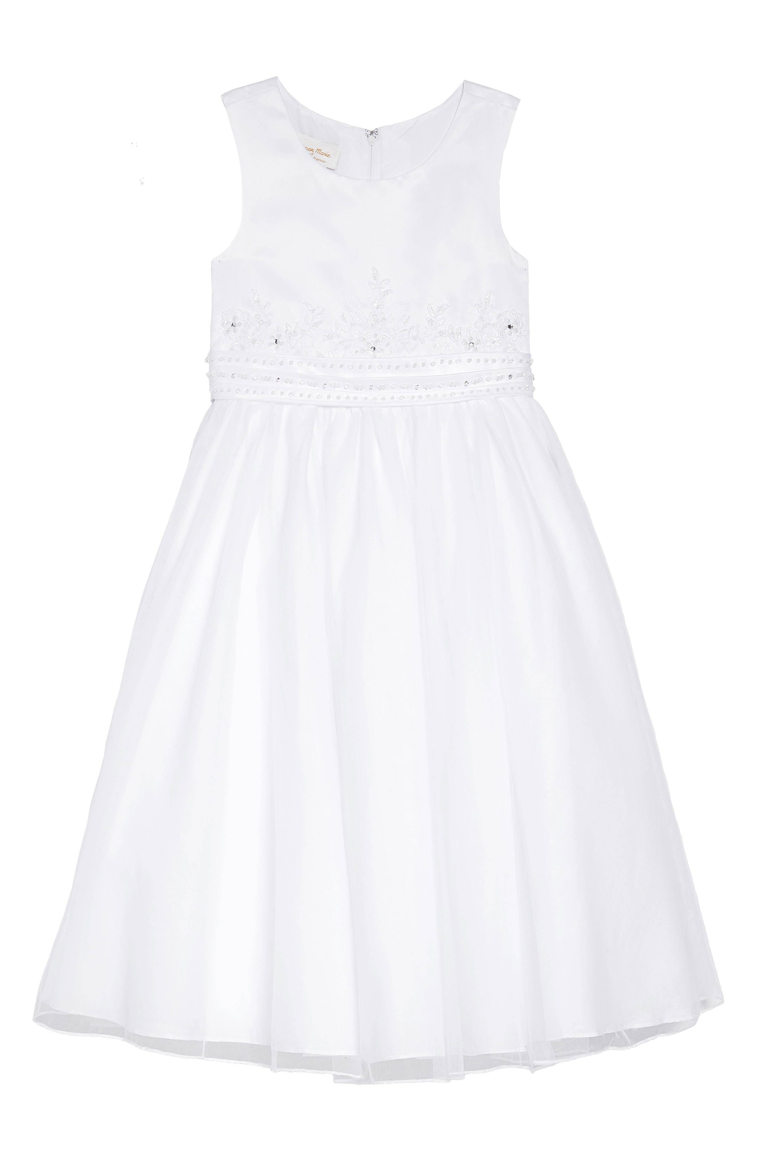 Beaded First Communion Dress,                             Main thumbnail 1, color,                             WHITE