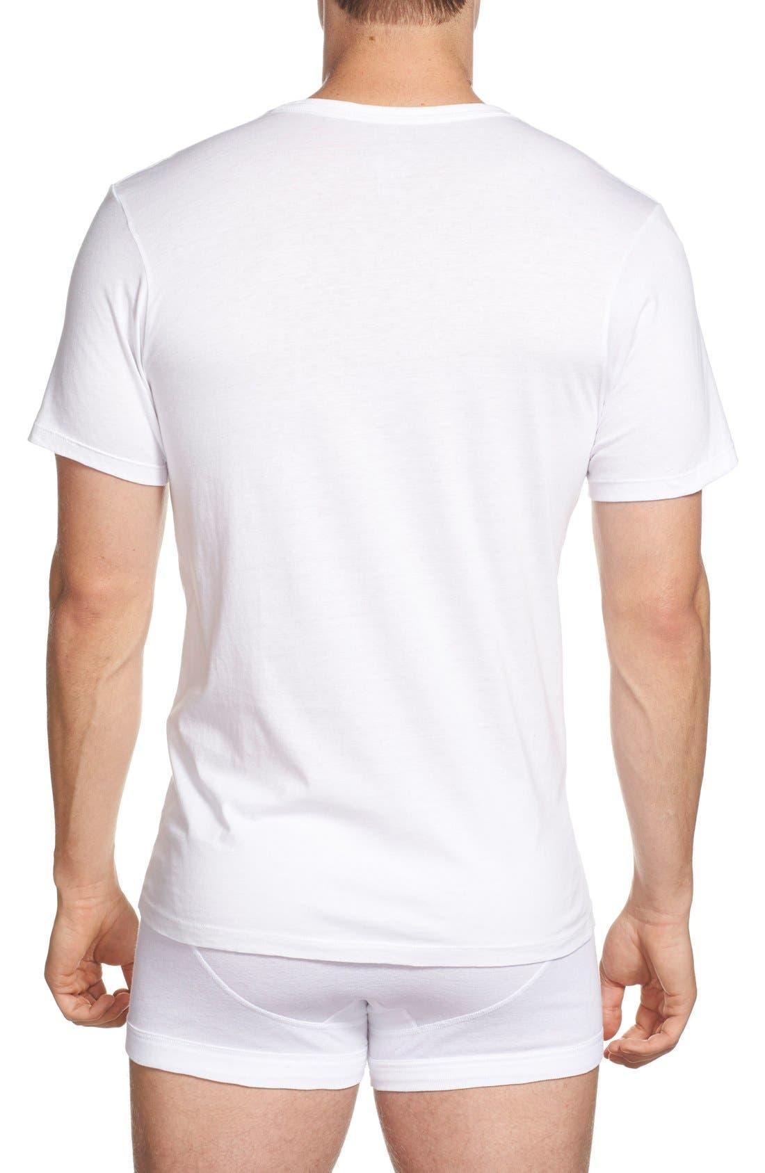 Slim Fit 3-Pack Cotton T-Shirt,                             Alternate thumbnail 3, color,                             100