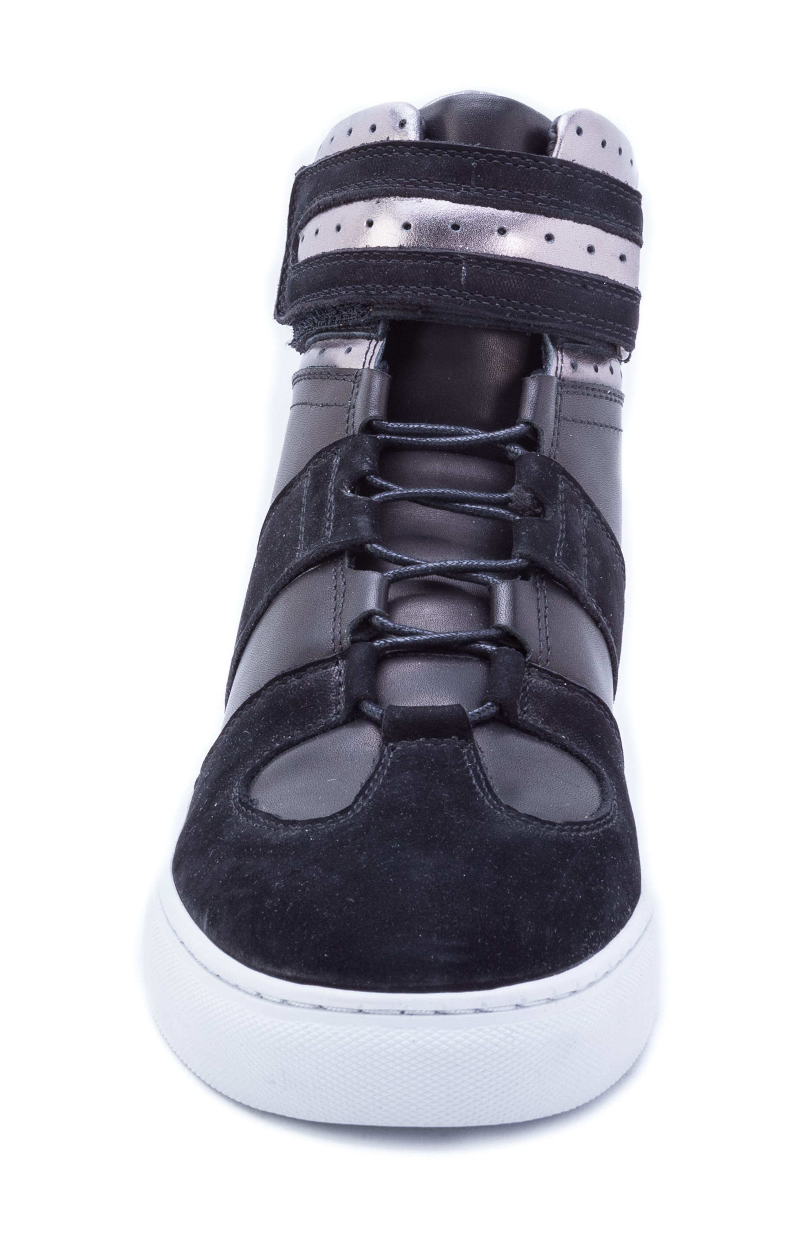 Belmondo High Top Sneaker,                             Alternate thumbnail 4, color,                             BLACK LEATHER/ SUEDE